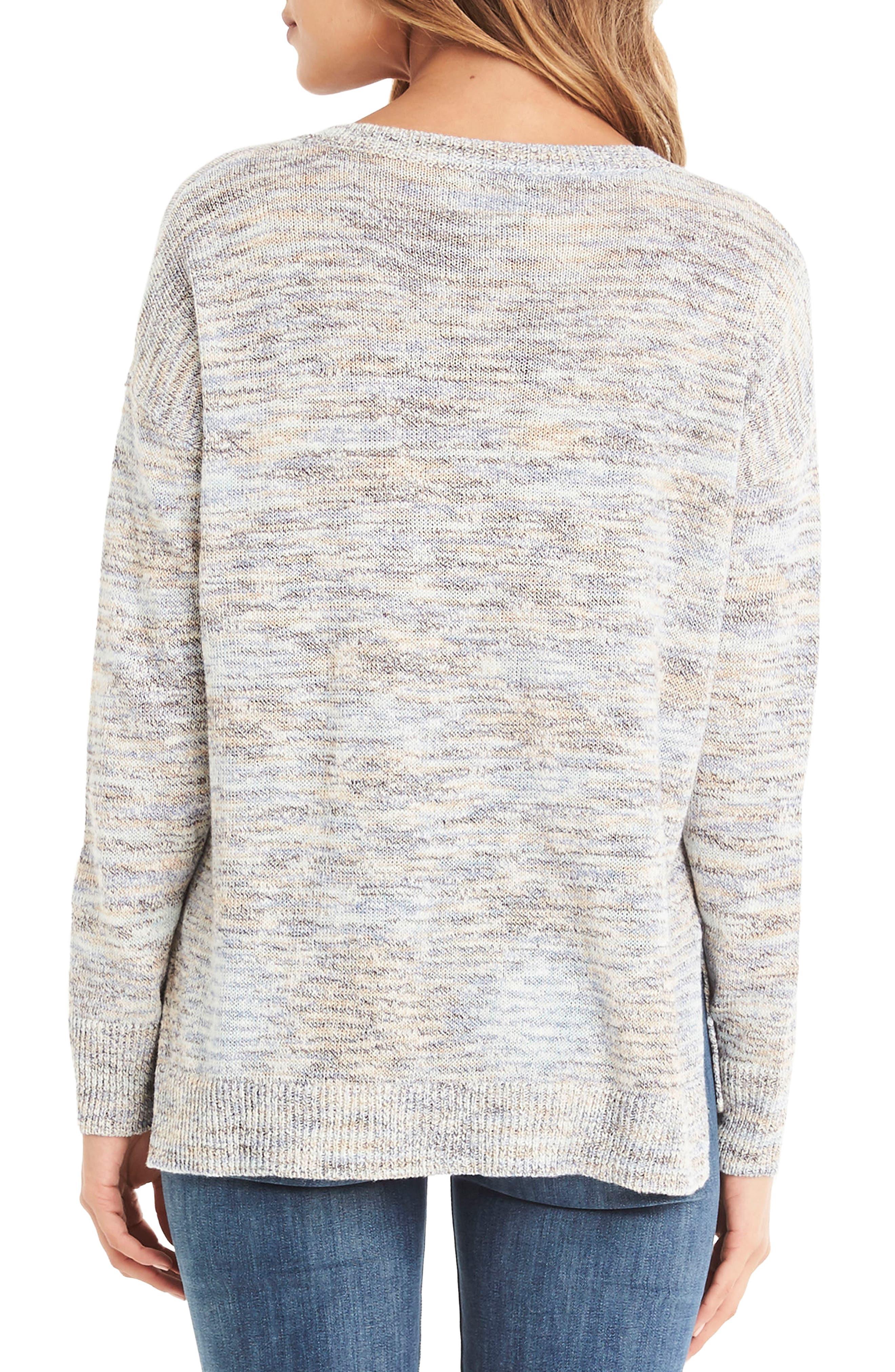 V-Neck Sweater,                             Alternate thumbnail 2, color,                             Blue Marl