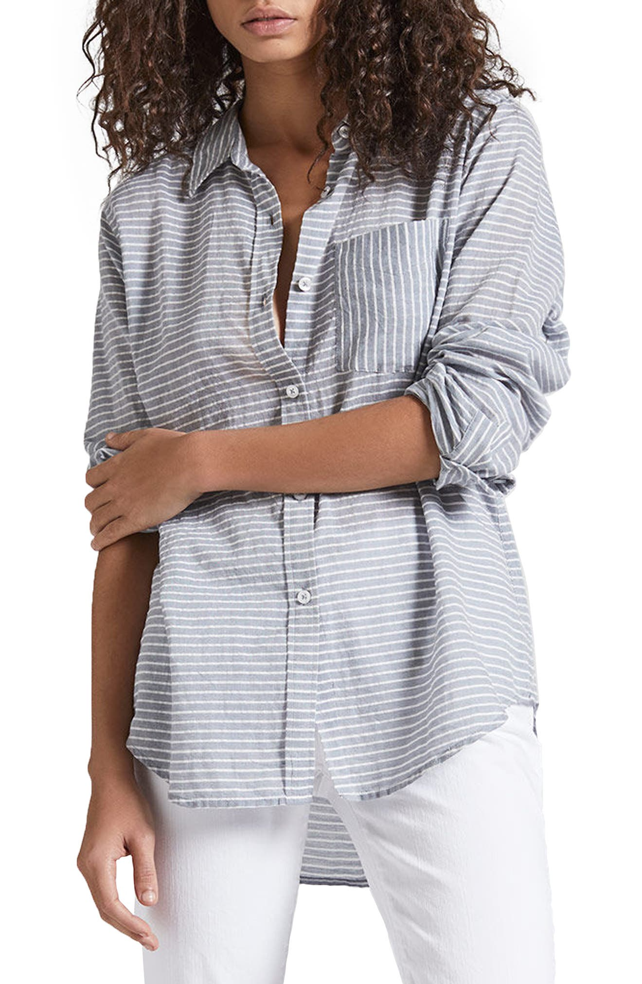 The Boyfriend Shirt,                             Alternate thumbnail 3, color,                             Stripe Chambray