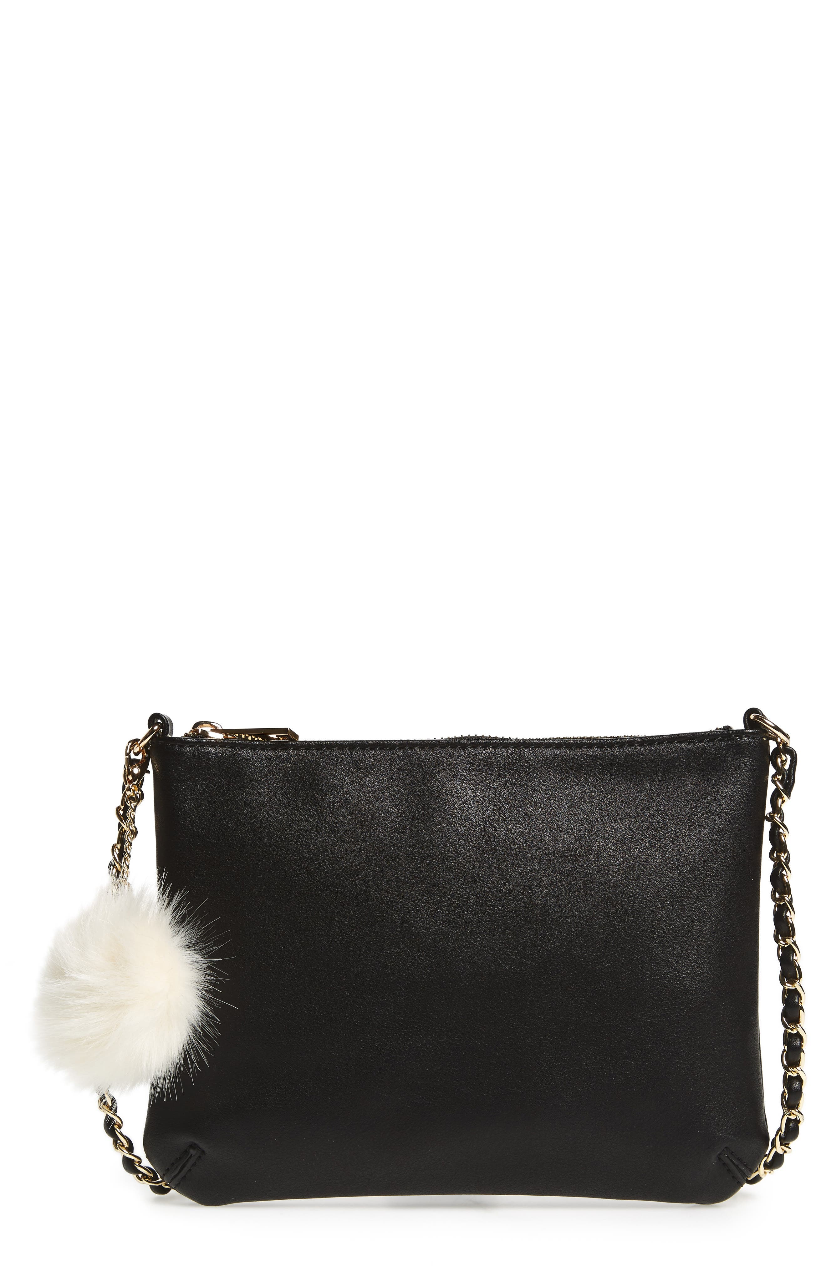 Main Image - Emperia Faux Leather Crossbody Bag with Faux Fur Pom