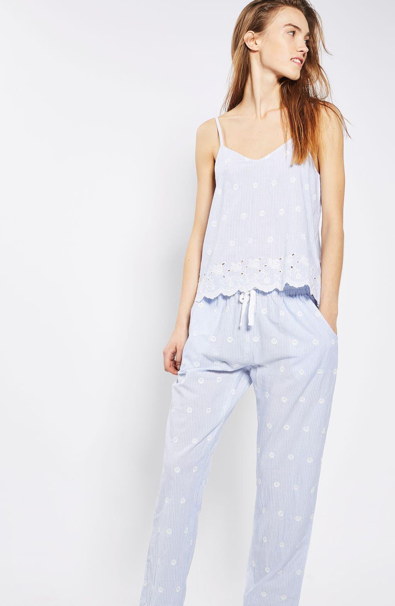Alternate Image 6  - Topshop Embroidered Stripe Pajama Pants
