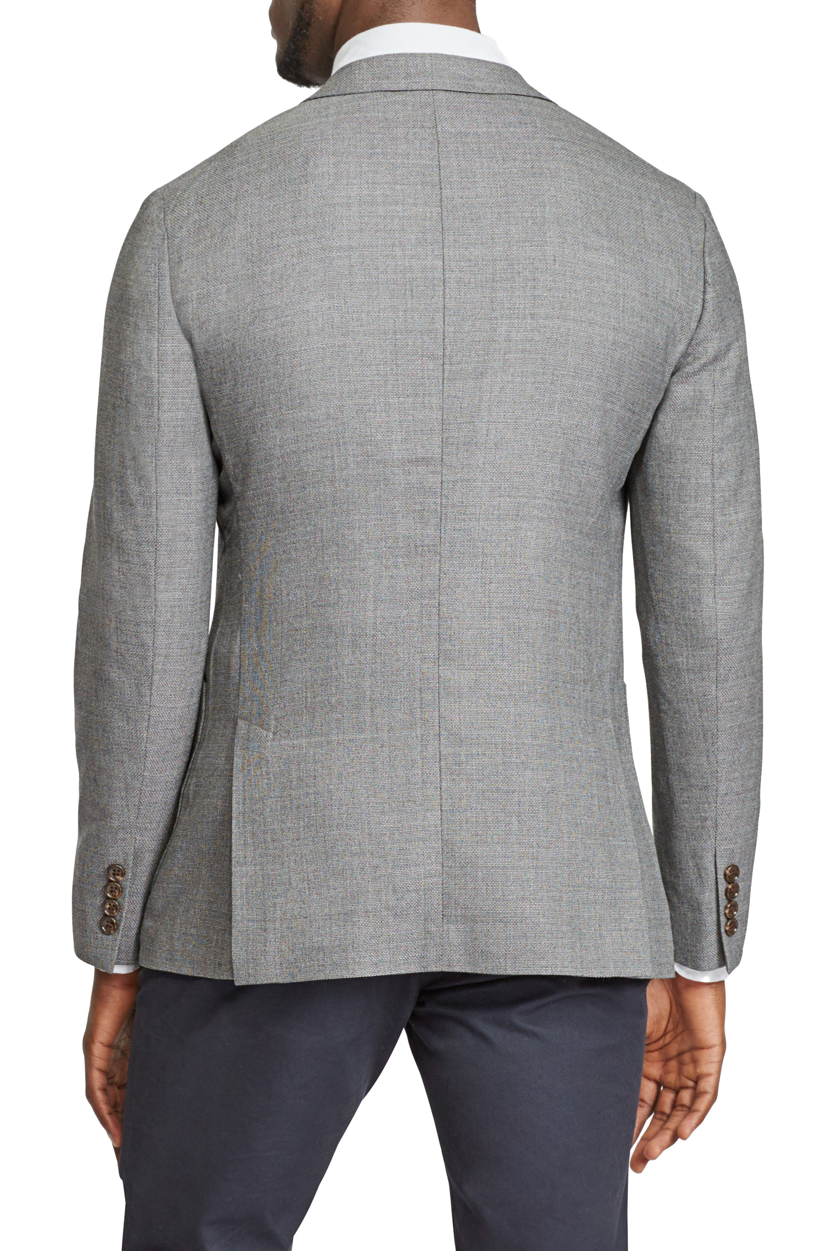 Trim Fit Wool Blazer,                             Alternate thumbnail 2, color,                             Mid Grey