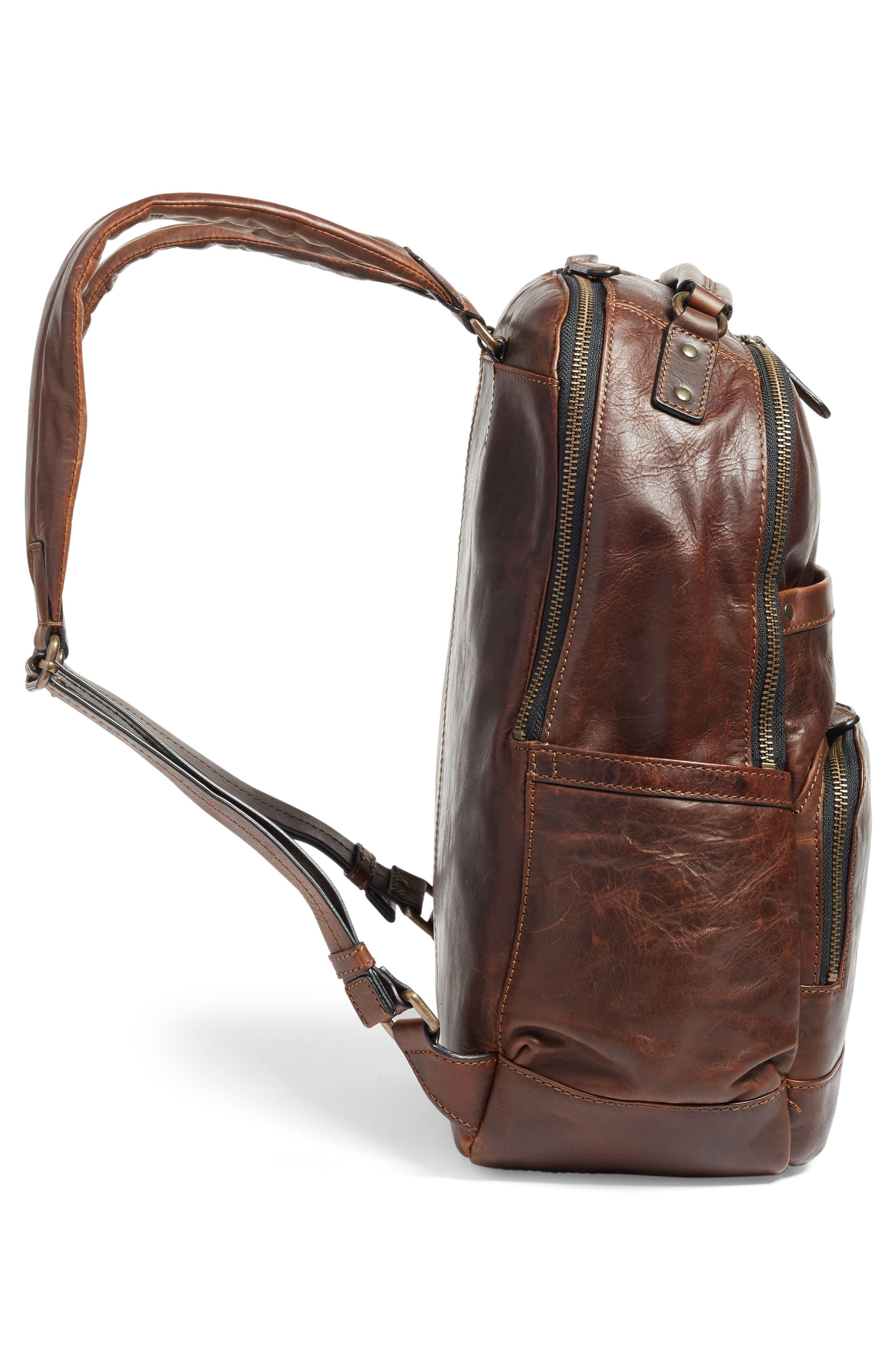 'Logan' Leather Backpack,                             Alternate thumbnail 5, color,                             Dark Brown