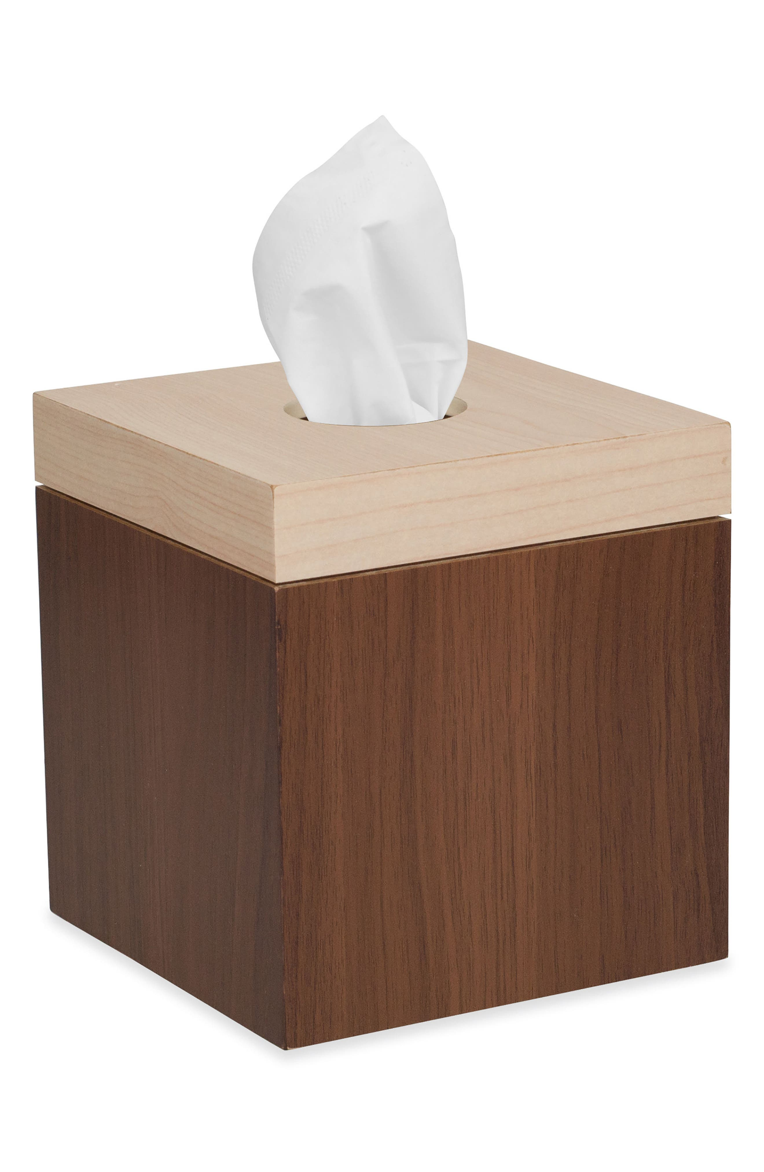 Wood Block Tissue Box Cover,                         Main,                         color, Brown