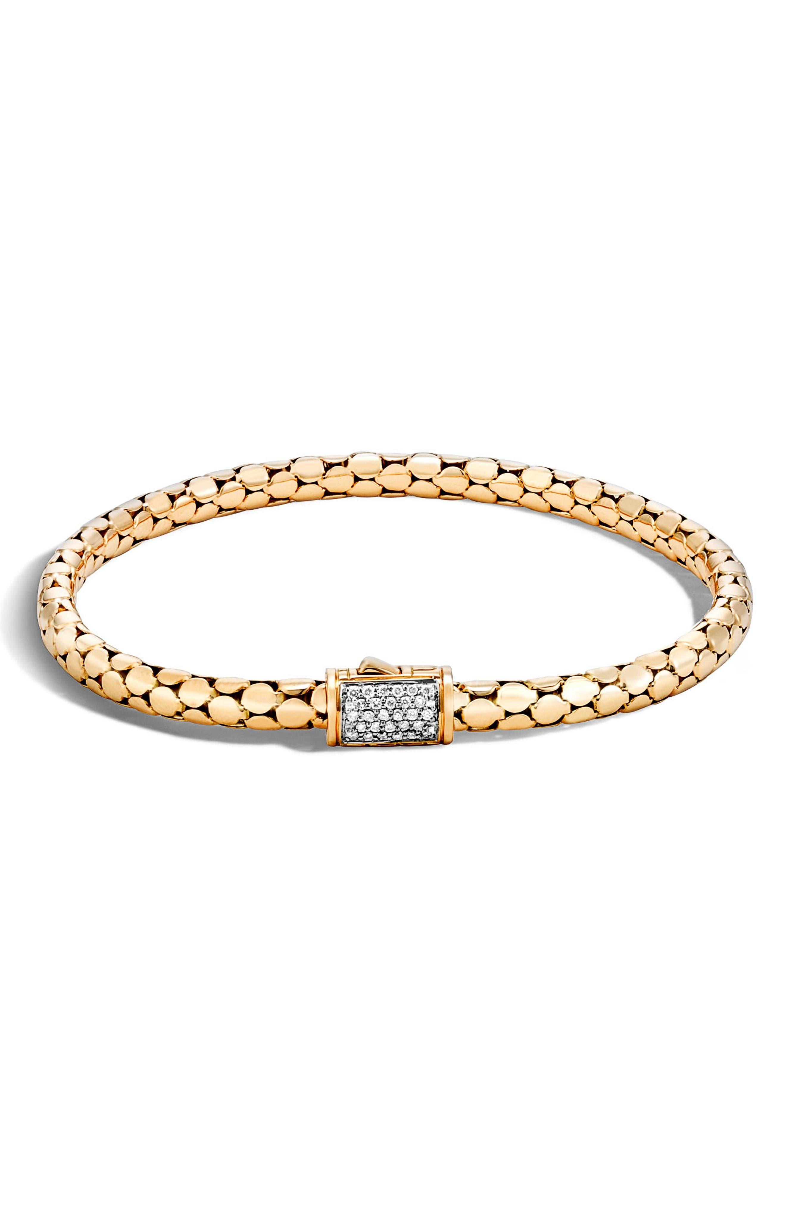 Dot Diamond Chain Bracelet,                         Main,                         color, Gold