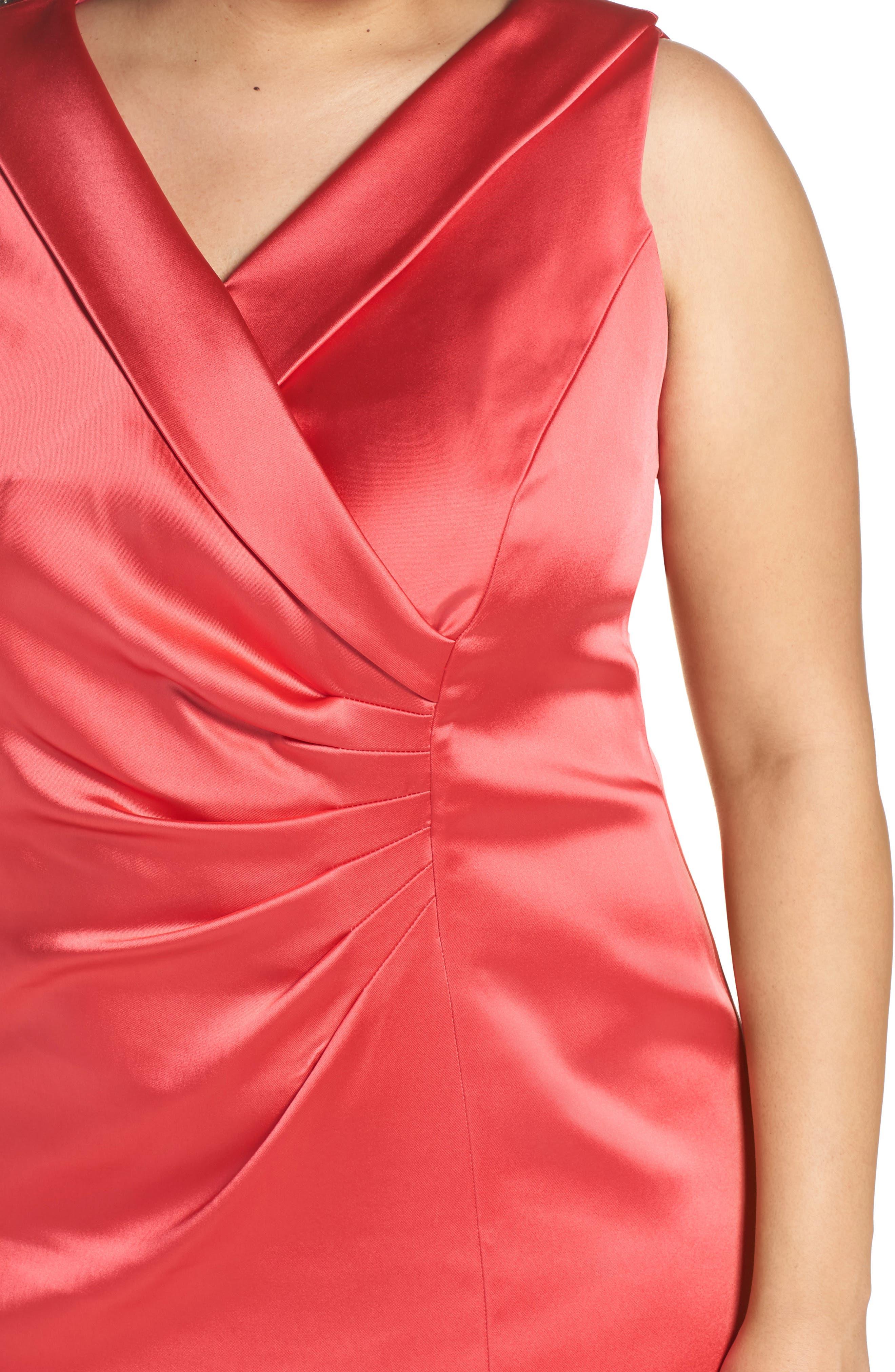 Collared Faux Wrap Dress,                             Alternate thumbnail 4, color,                             Geranium