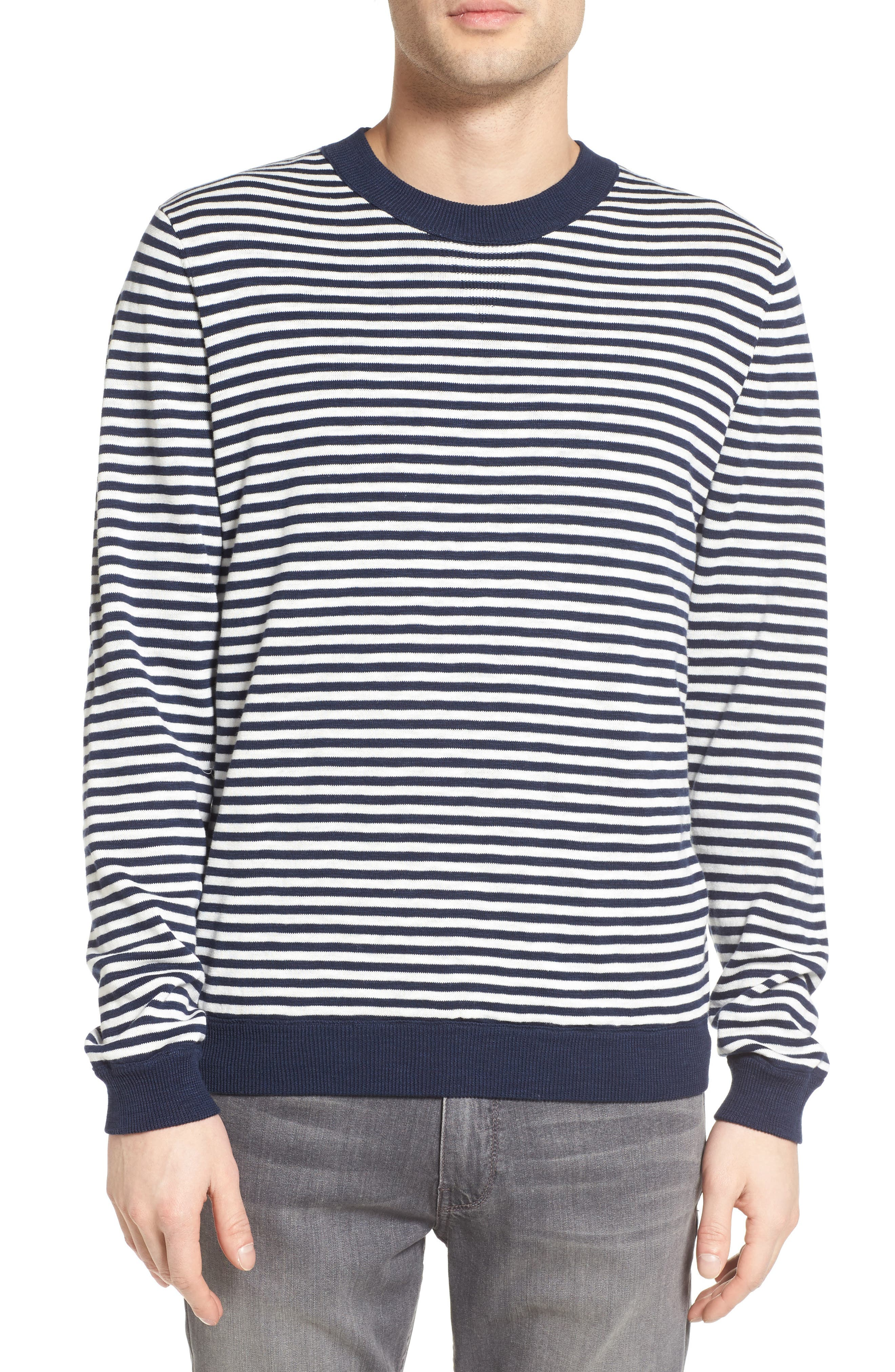 Luca Reversible Cotton & Linen Pullover,                             Alternate thumbnail 4, color,                             Turbid Stripe Night Sea/ White