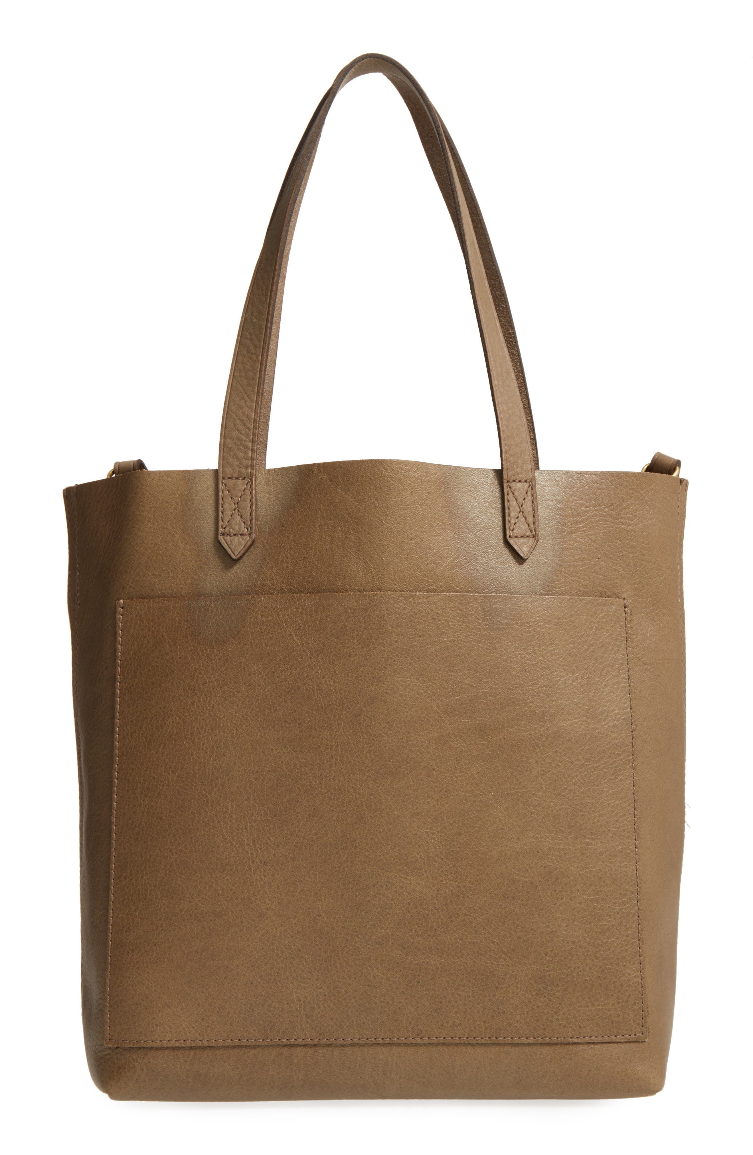 Medium Leather Transport Tote,                         Main,                         color, Washed Olive