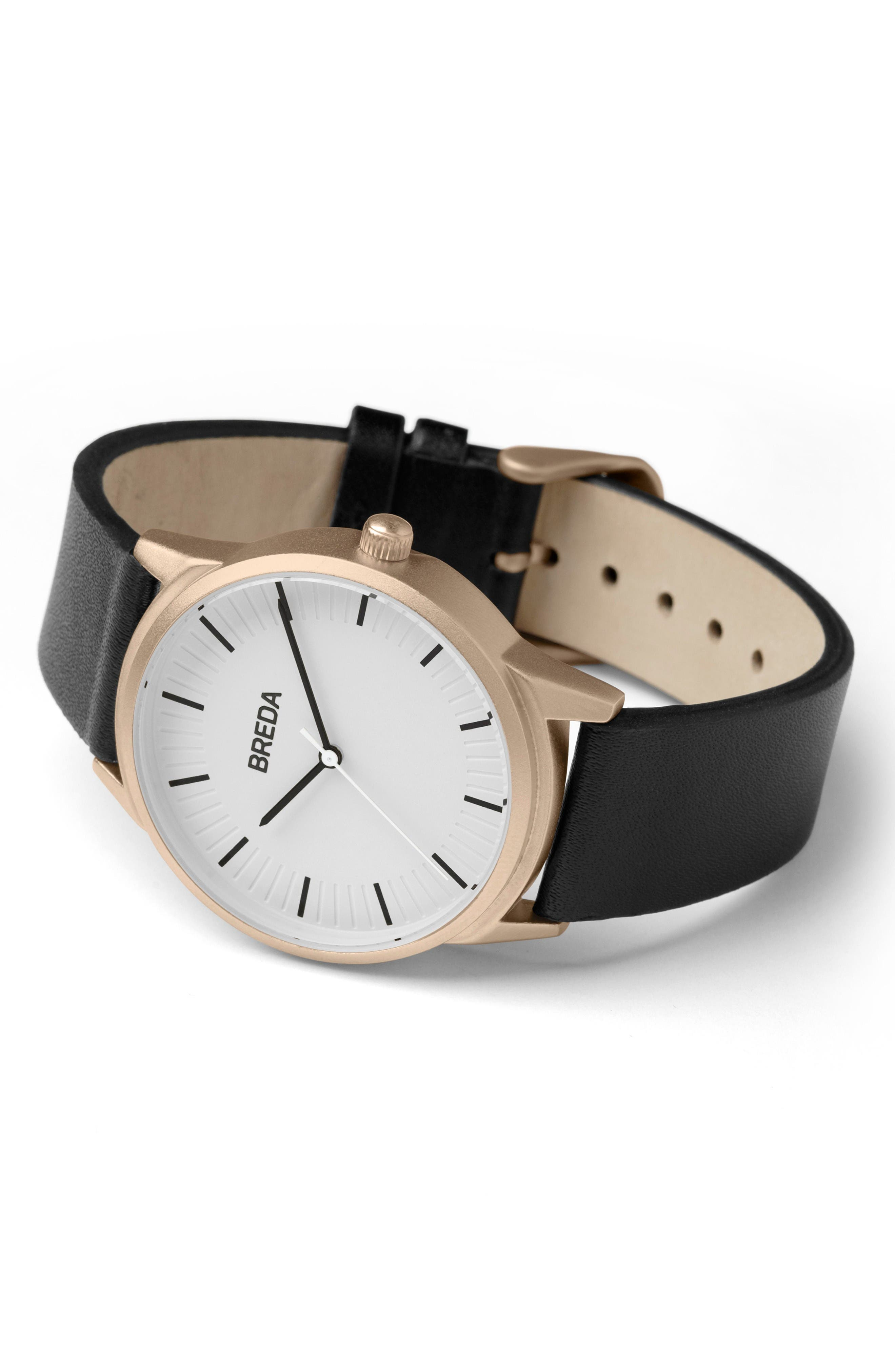 Alternate Image 2  - BREDA Bresson Leather Strap Watch, 42mm