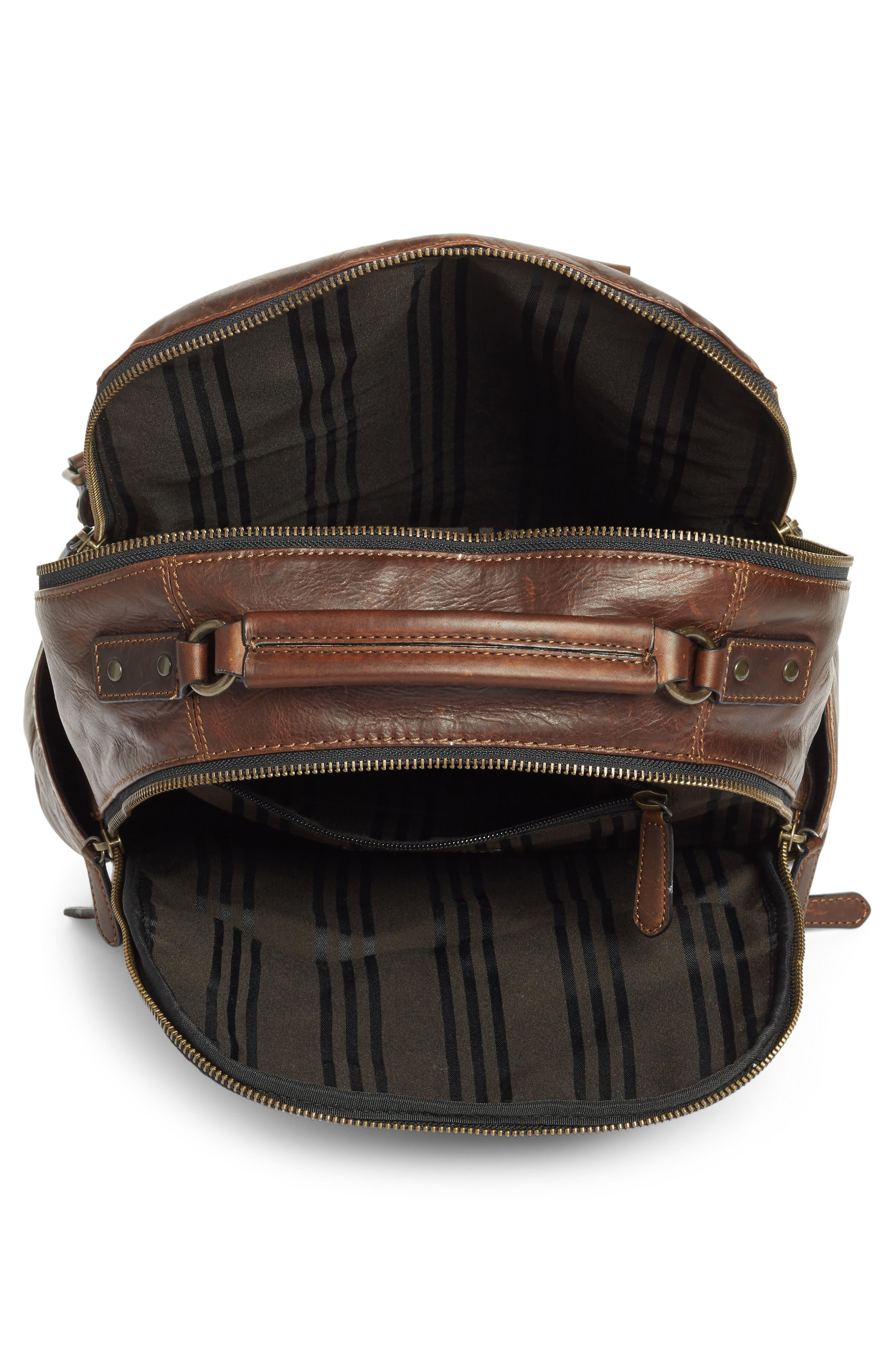 'Logan' Leather Backpack,                             Alternate thumbnail 4, color,                             Dark Brown