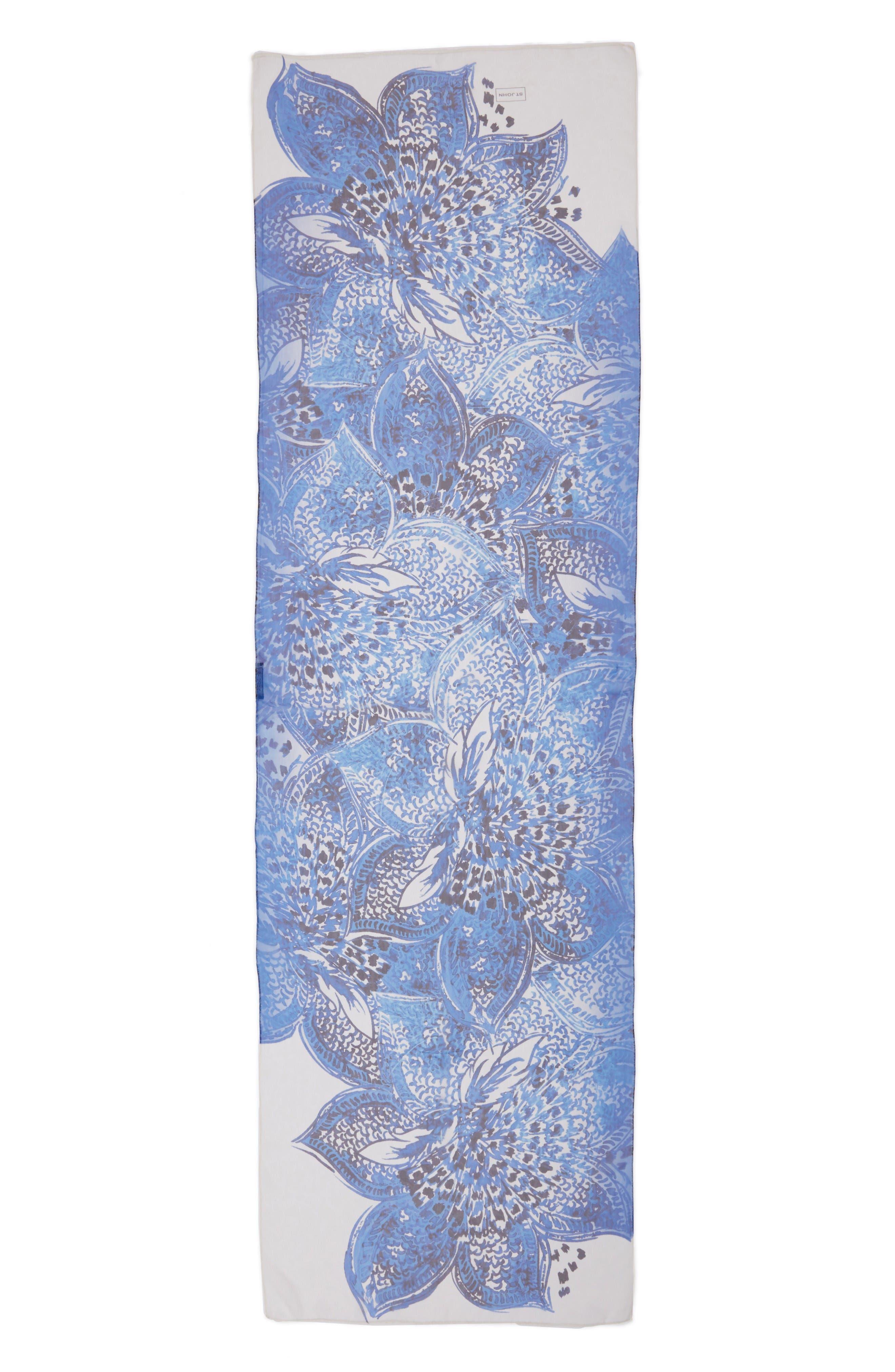 Lotus Blossom Print Silk Scarf,                         Main,                         color, Bianco Multi