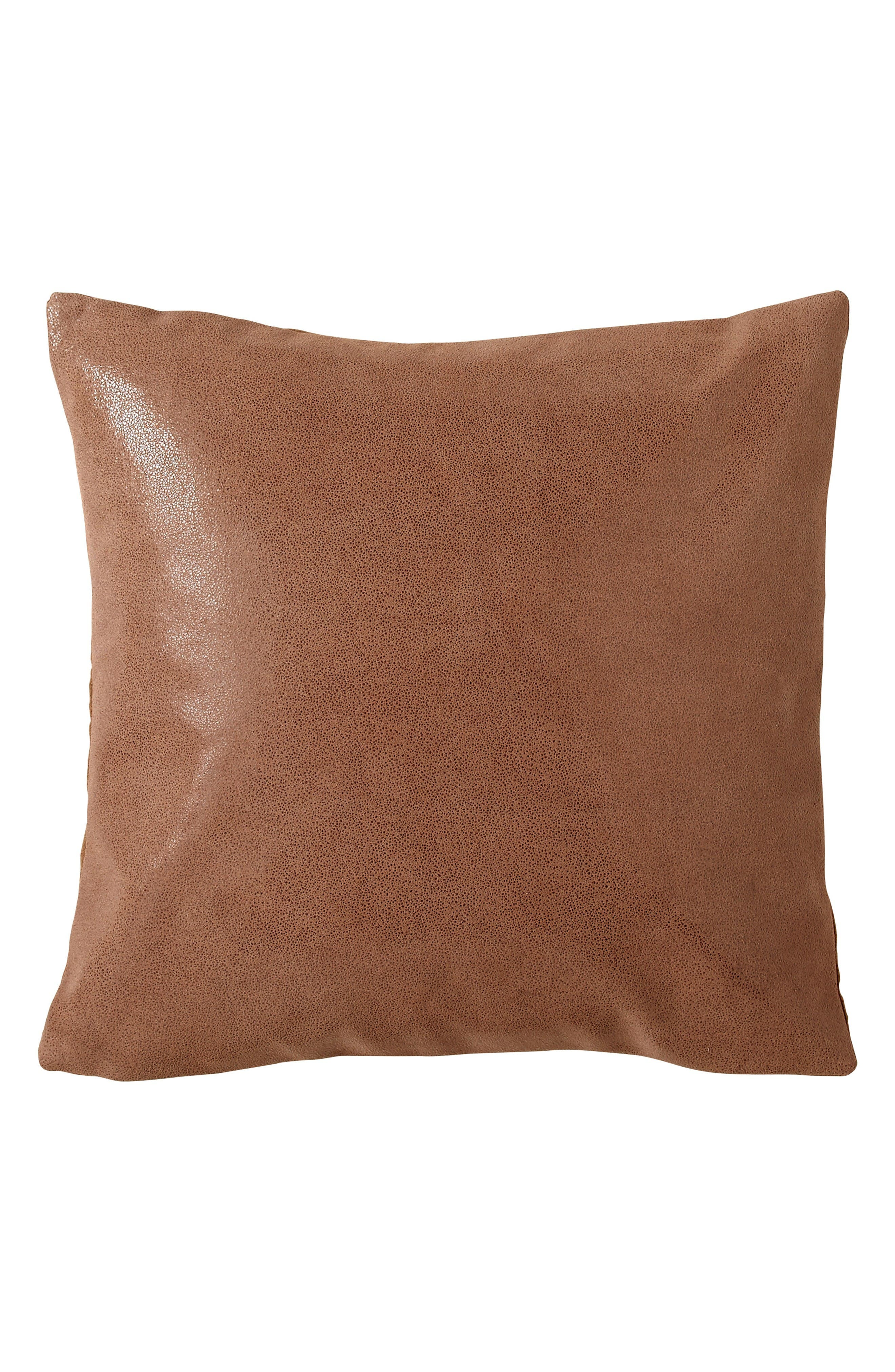 Donna Karan Home Collection Awakening Lacquer Printed Leather Accent Pillow,                         Main,                         color, Copper