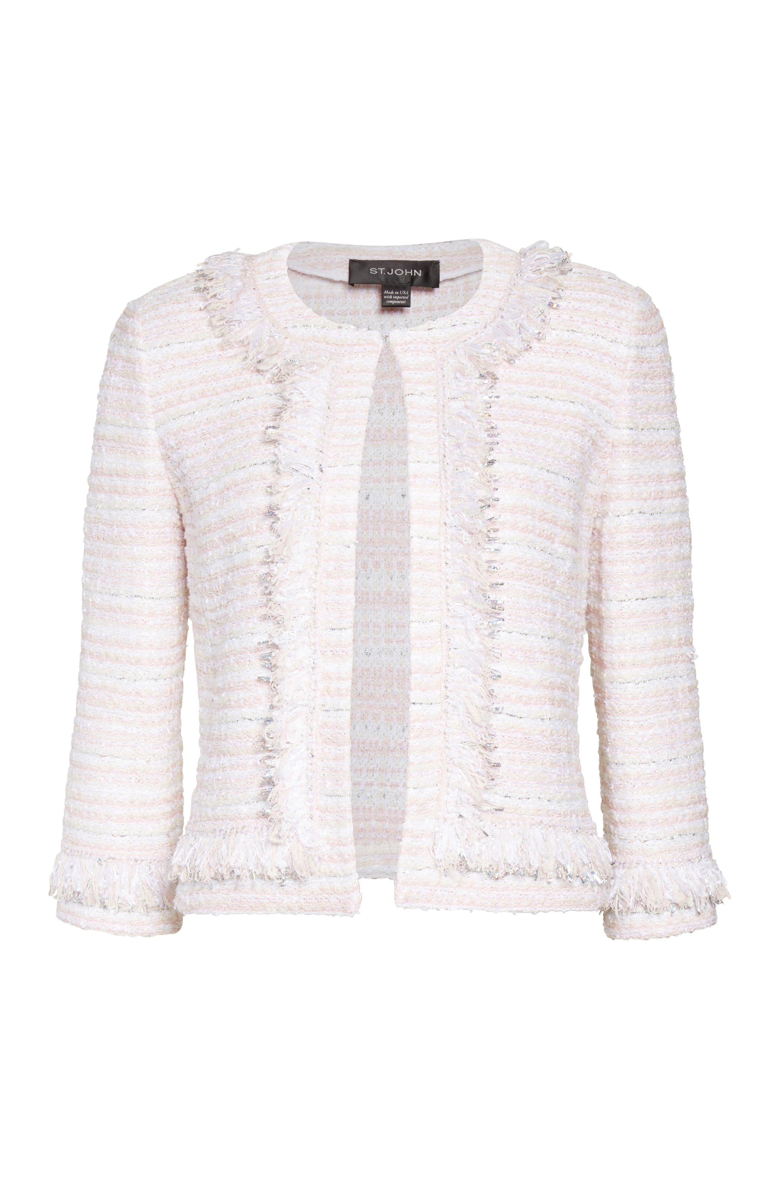 Alternate Image 6  - St. John Collection Padmesh Tweed Knit Fringe Jacket