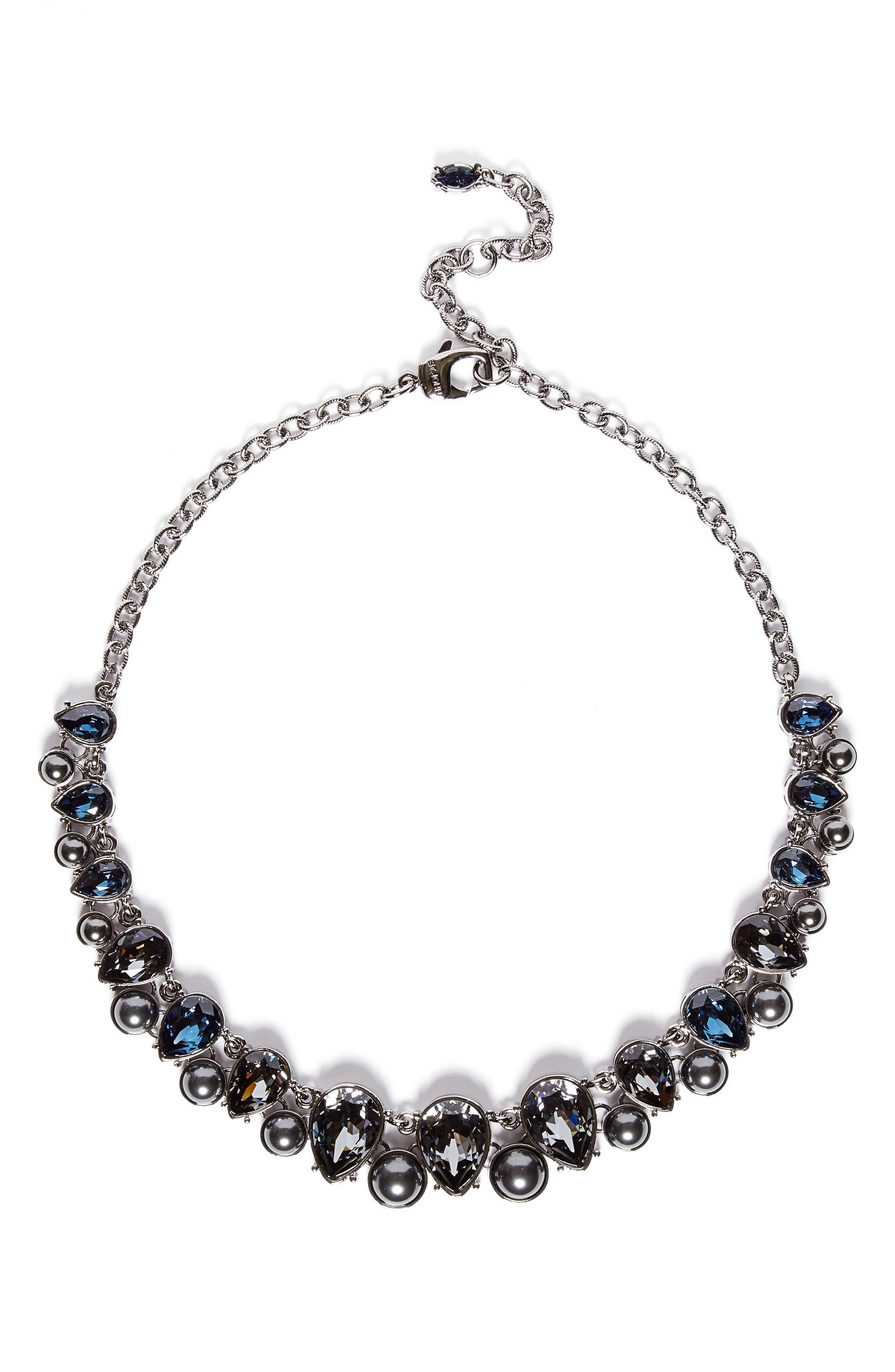 Swarovski Crystal & Imitation Pearl Necklace,                             Main thumbnail 1, color,                             Drk Ruth/Crys Blk Prl/Csn/Mont