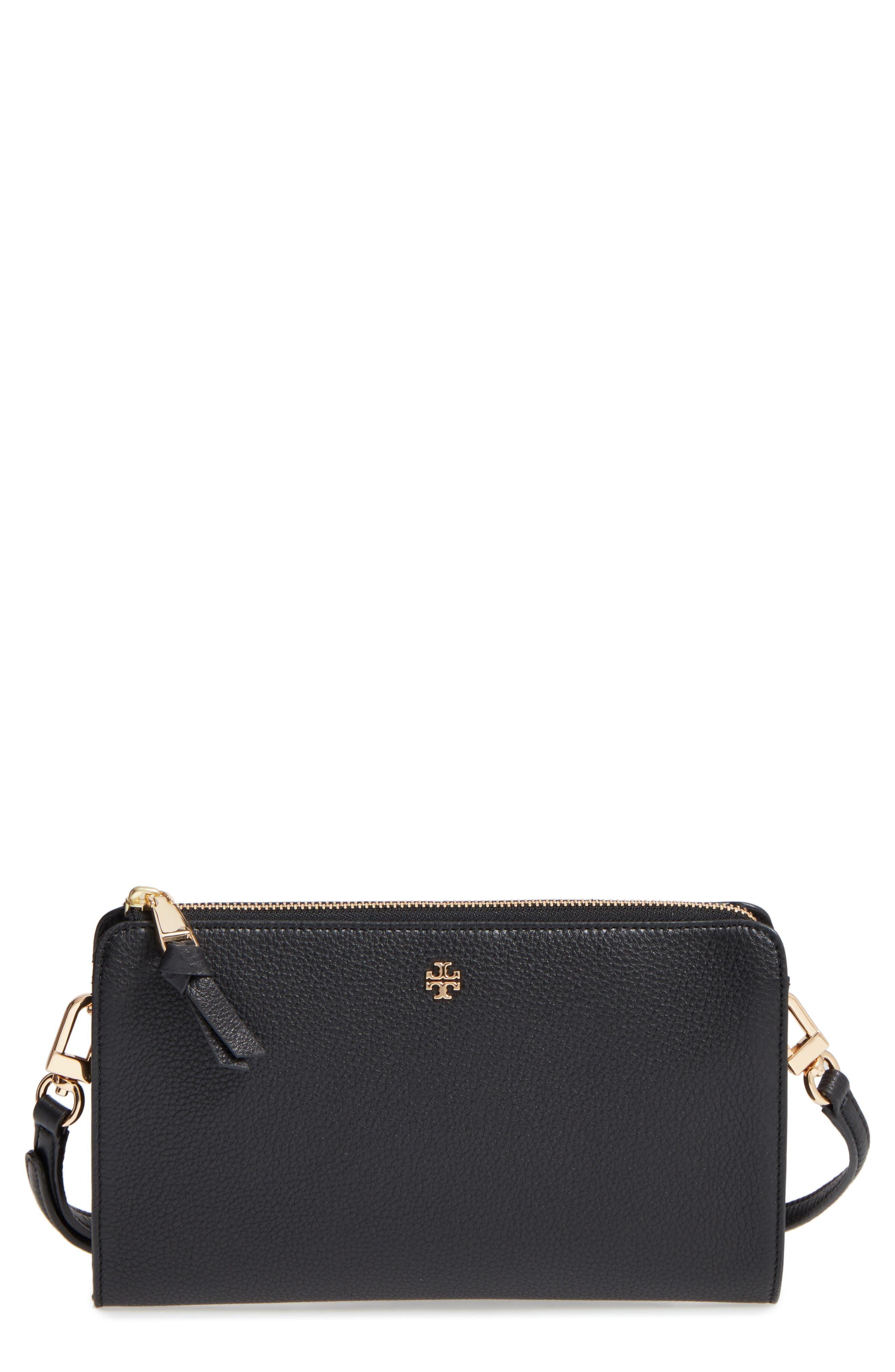 Robinson Leather Wallet/Crossbody Bag,                             Main thumbnail 1, color,                             Black