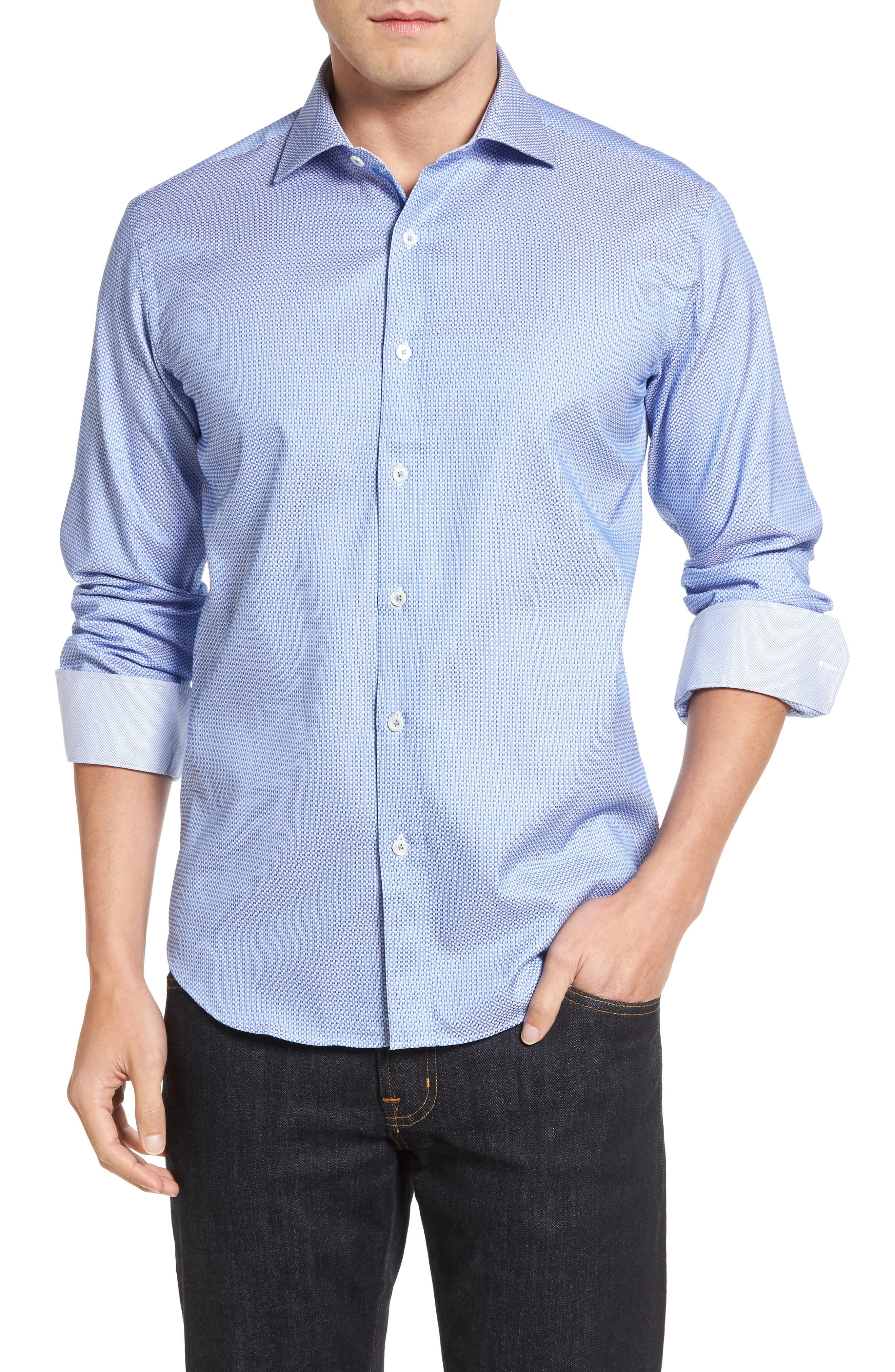 BUGATCHI Shaped Fit Dobby Sport Shirt