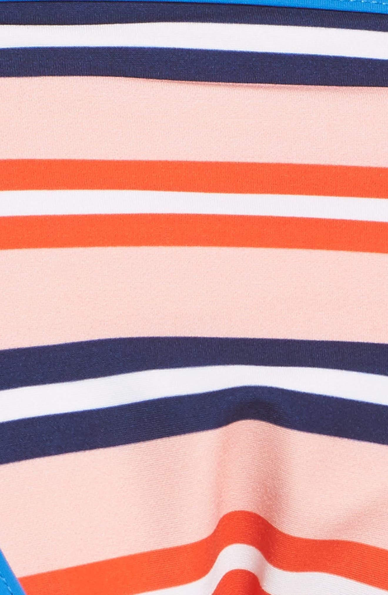 Side Tie Bikini Bottoms,                             Alternate thumbnail 5, color,                             Aikin Stripe Sm Flame Red