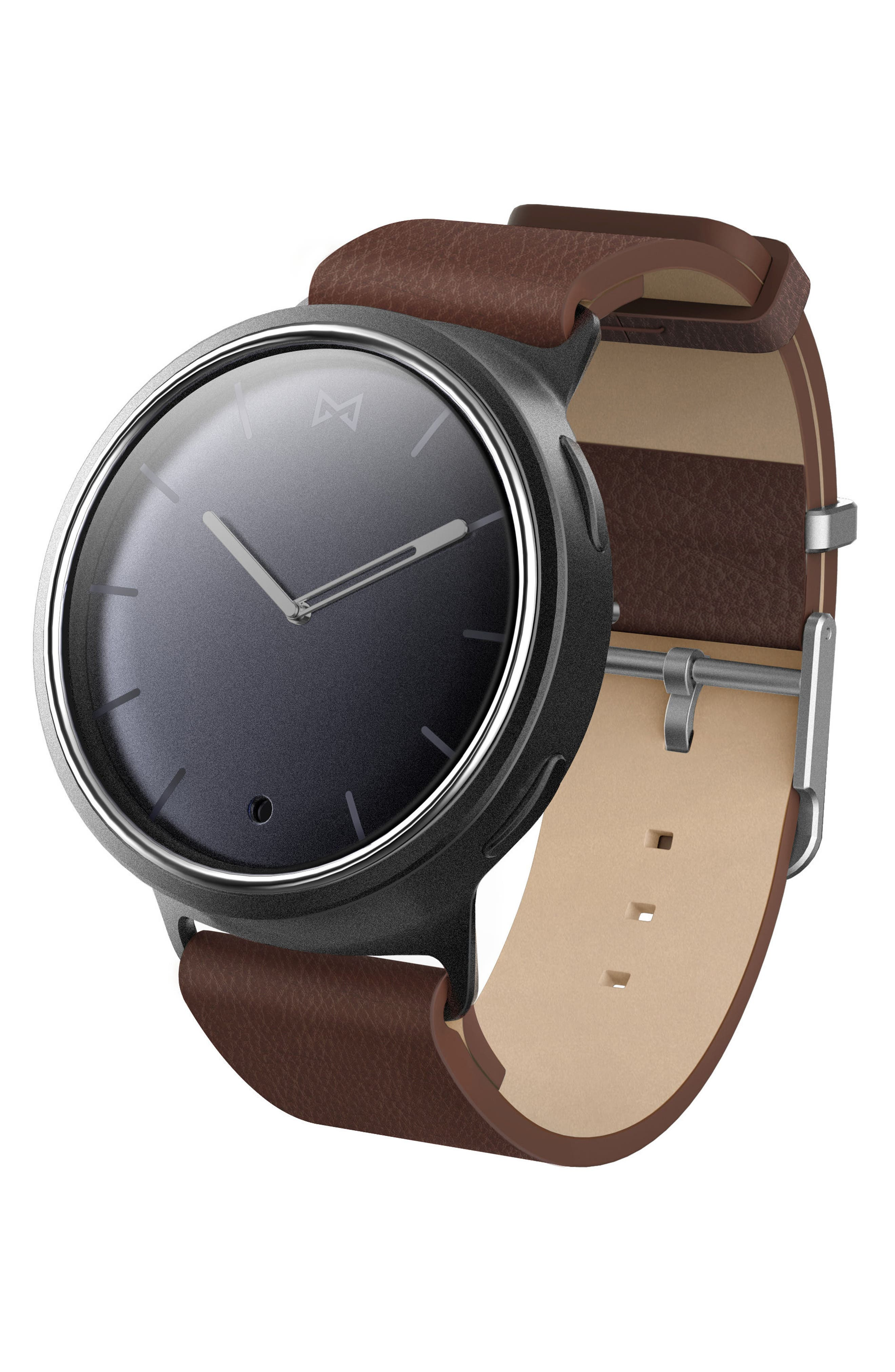 Phase Leather Strap Smart Watch, 40mm,                         Main,                         color, Brown/ Grey