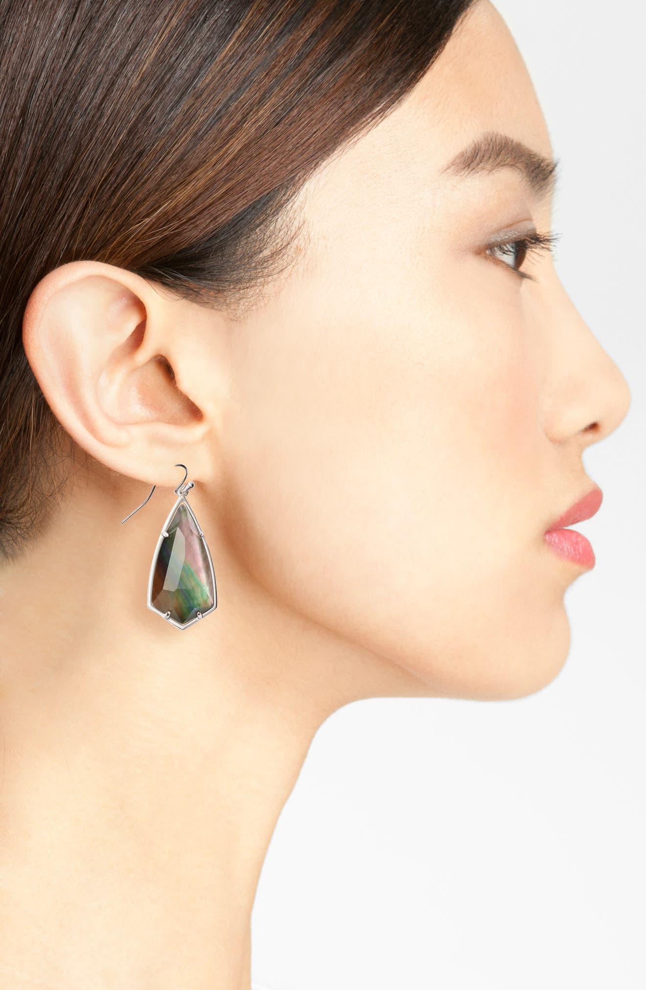 Carla Semiprecious Stone Drop Earrings,                             Alternate thumbnail 2, color,                             Black Mop/ Silver