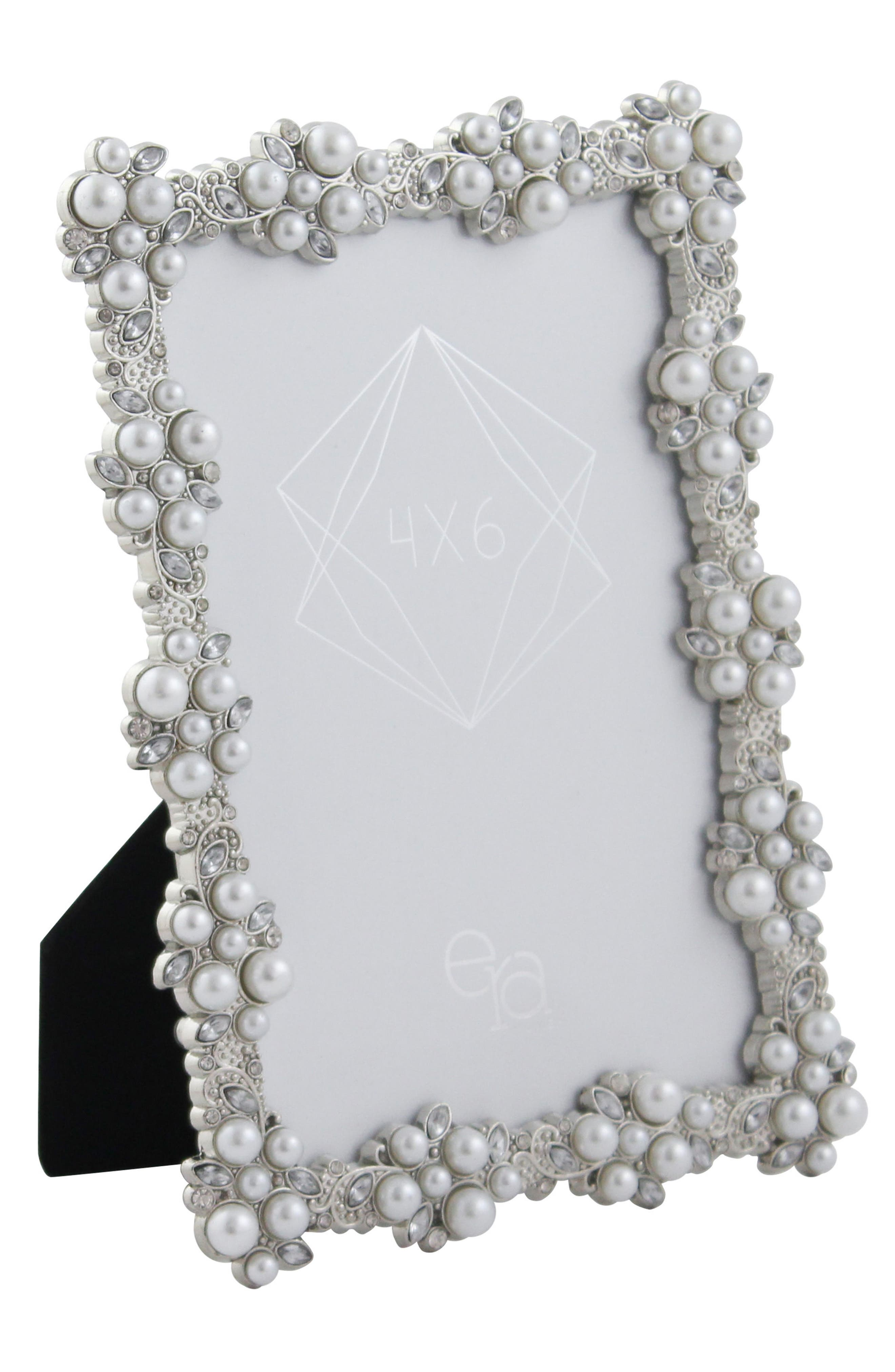 Crystal & Imitation Pearl Picture Frame,                         Main,                         color, Silver