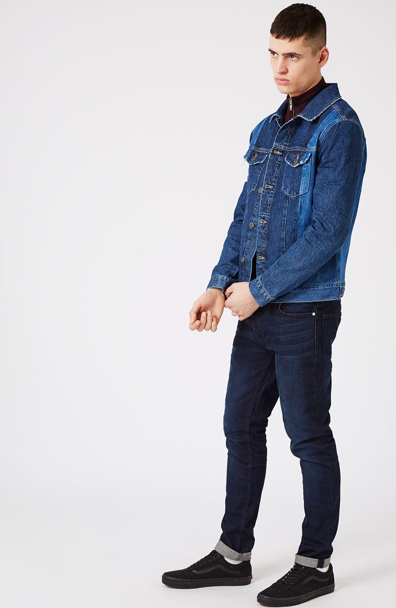 Alternate Image 2  - Topman Two-Tone Denim Jacket