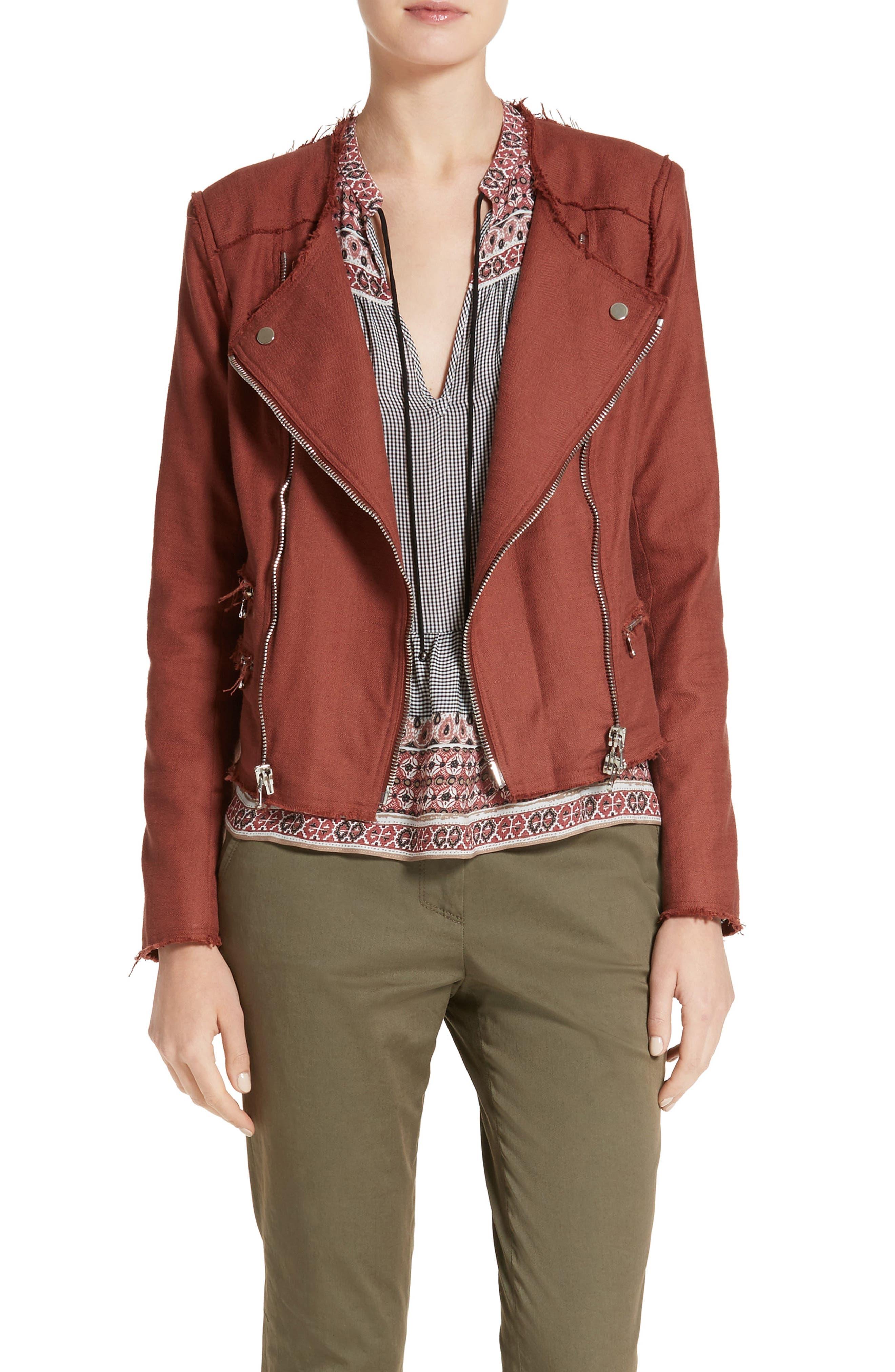 Alternate Image 1 Selected - Veronica Beard Stevie Fringe Trim Moto Jacket
