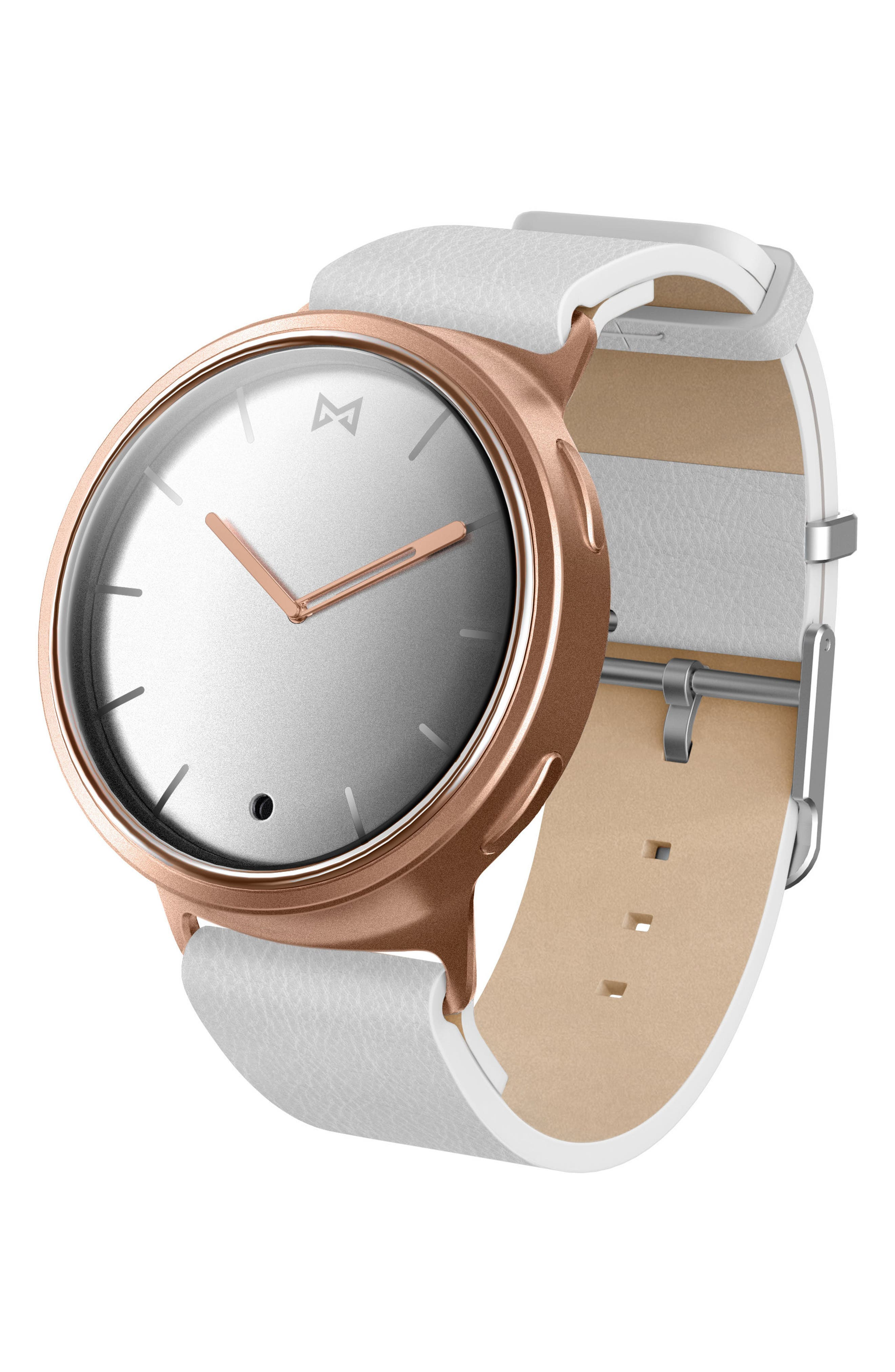 Phase Leather Strap Smart Watch, 40mm,                         Main,                         color, White/ Gold