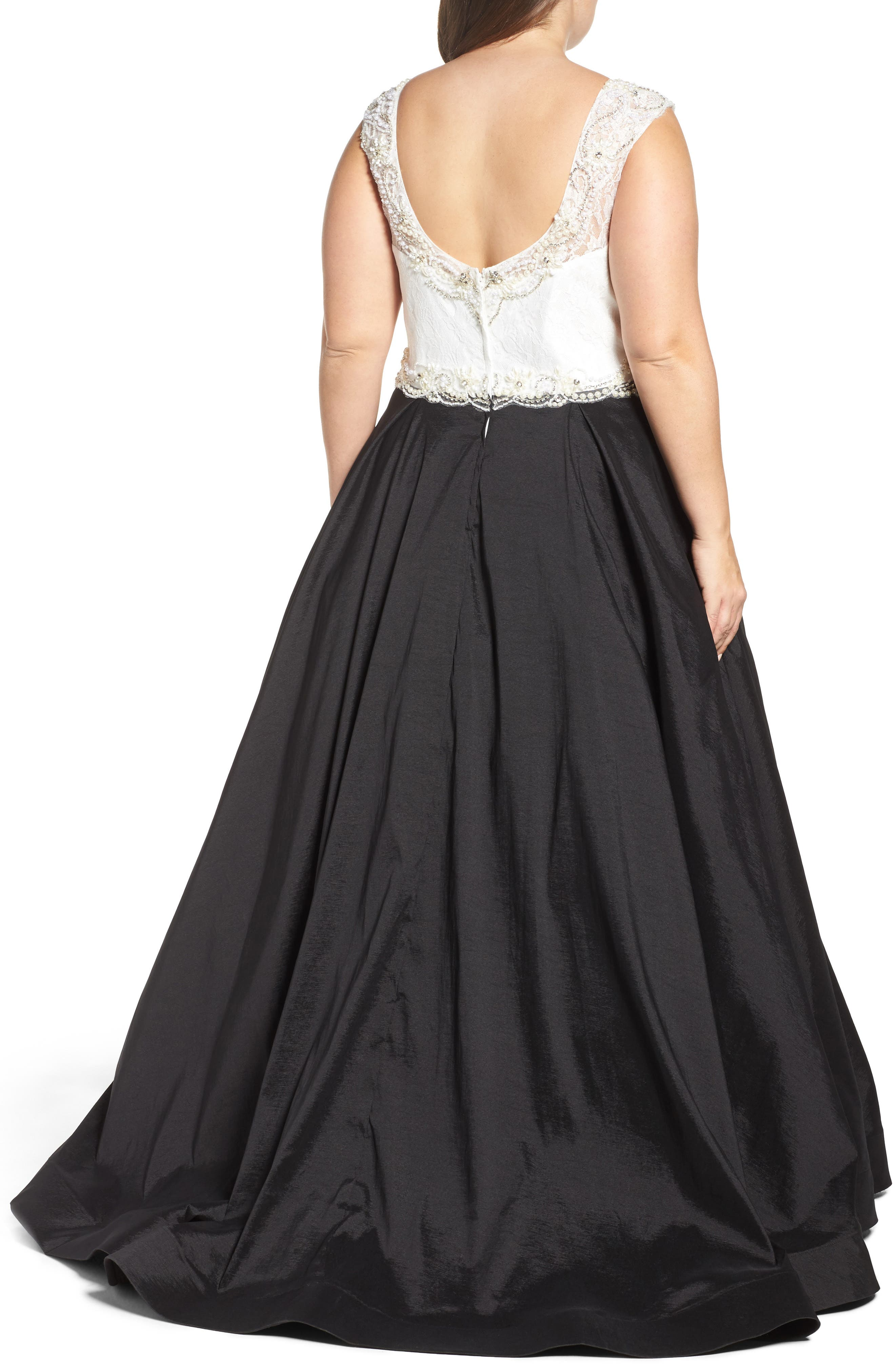 Embellished Lace & Taffeta Ballgown,                             Alternate thumbnail 2, color,                             Black White