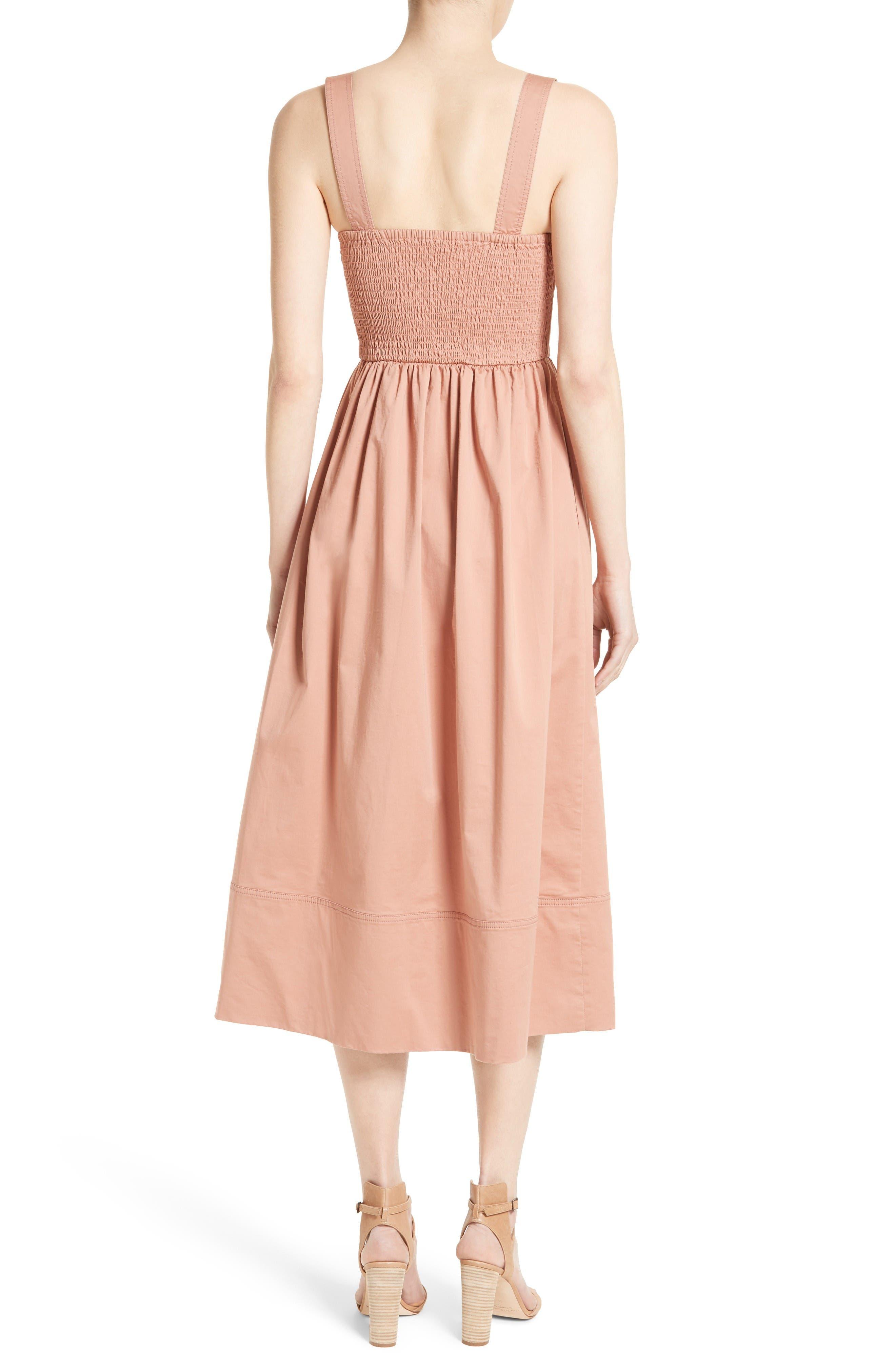 Alternate Image 2  - Rebecca Taylor Stretch Cotton Midi Dress