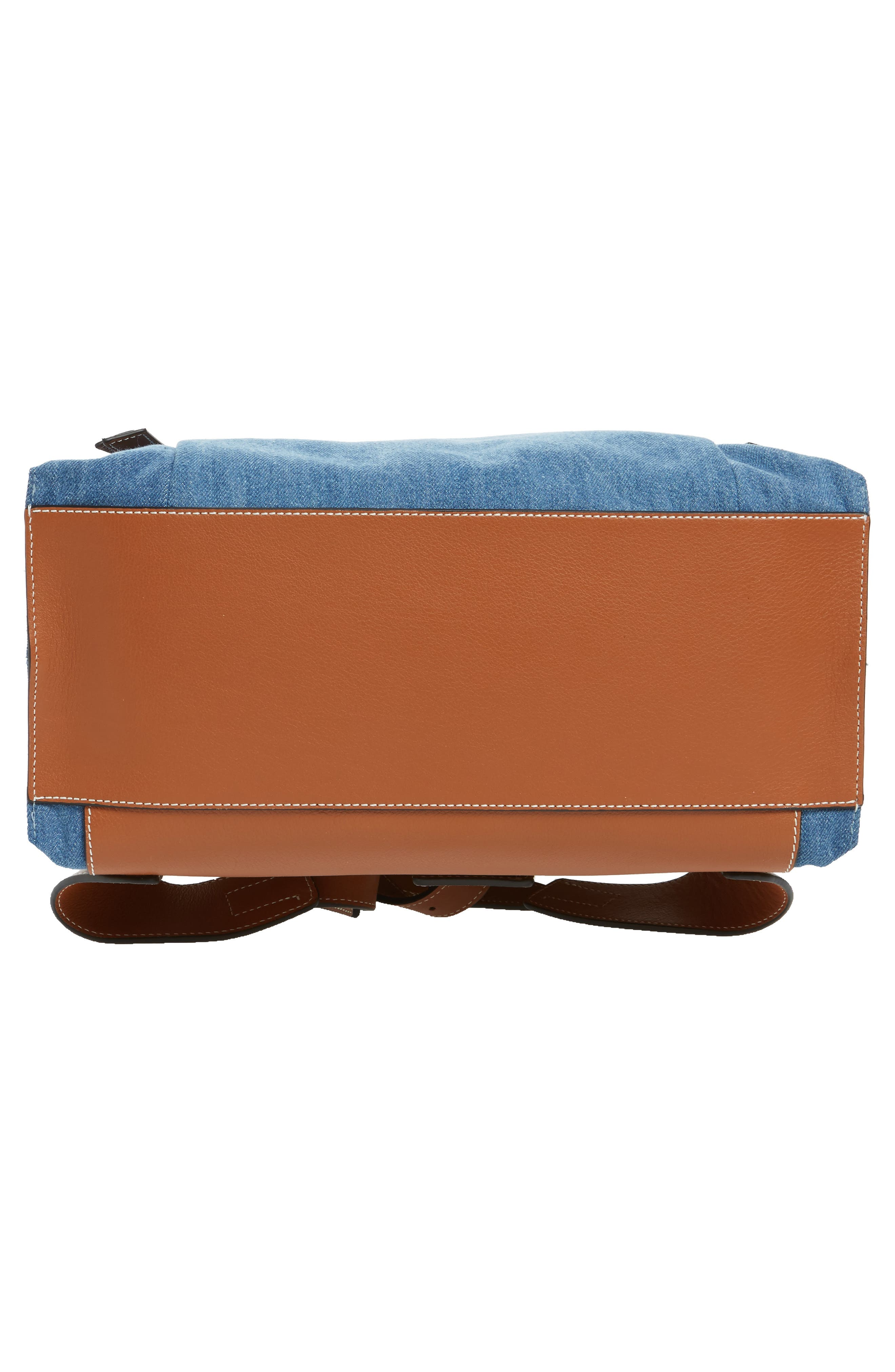 T Small Denim & Leather Backpack,                             Alternate thumbnail 5, color,                             Dark Blue/Tan