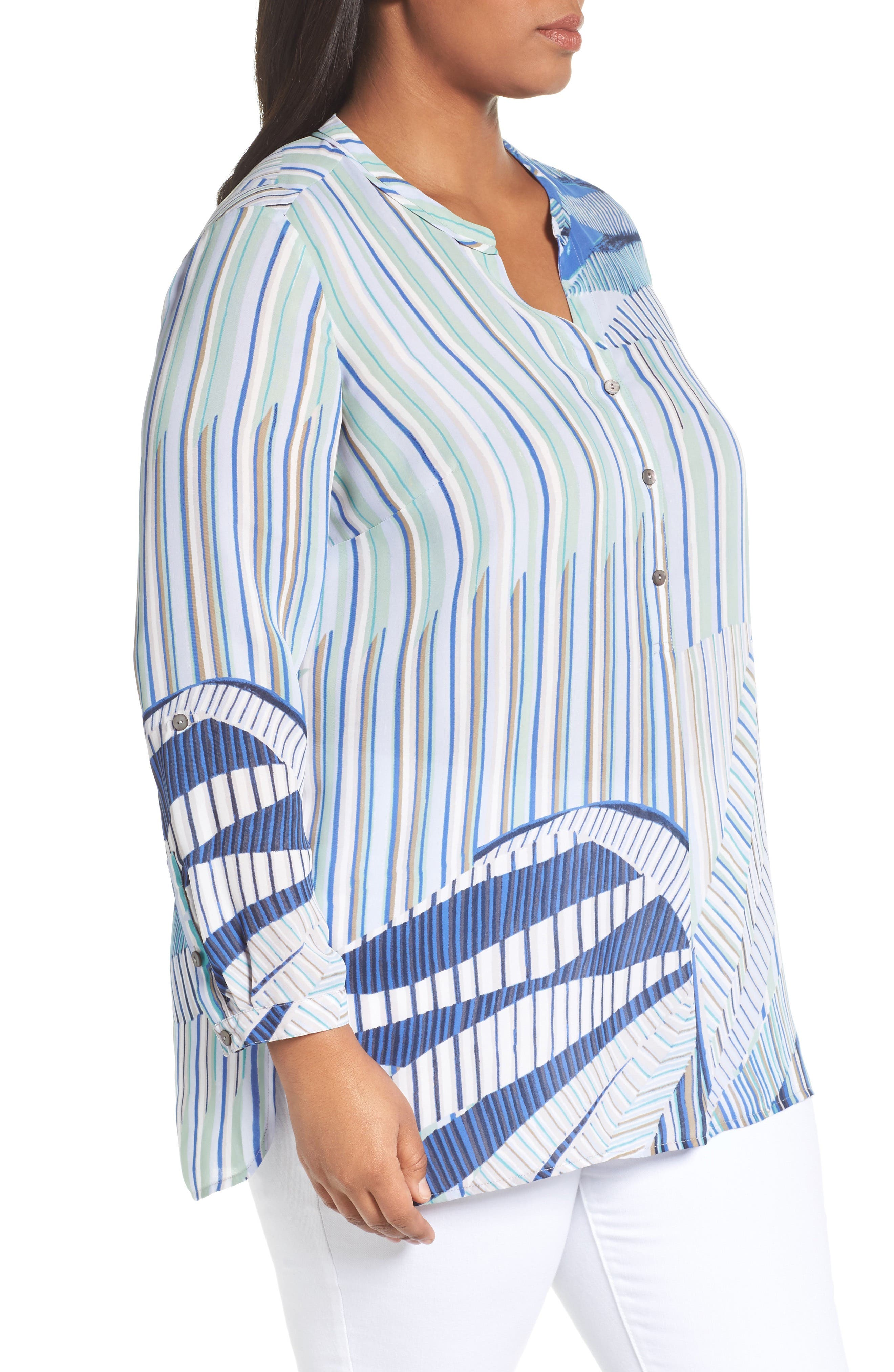 Palm Lines Roll Sleeve Blouse,                             Alternate thumbnail 3, color,                             Blue Multi