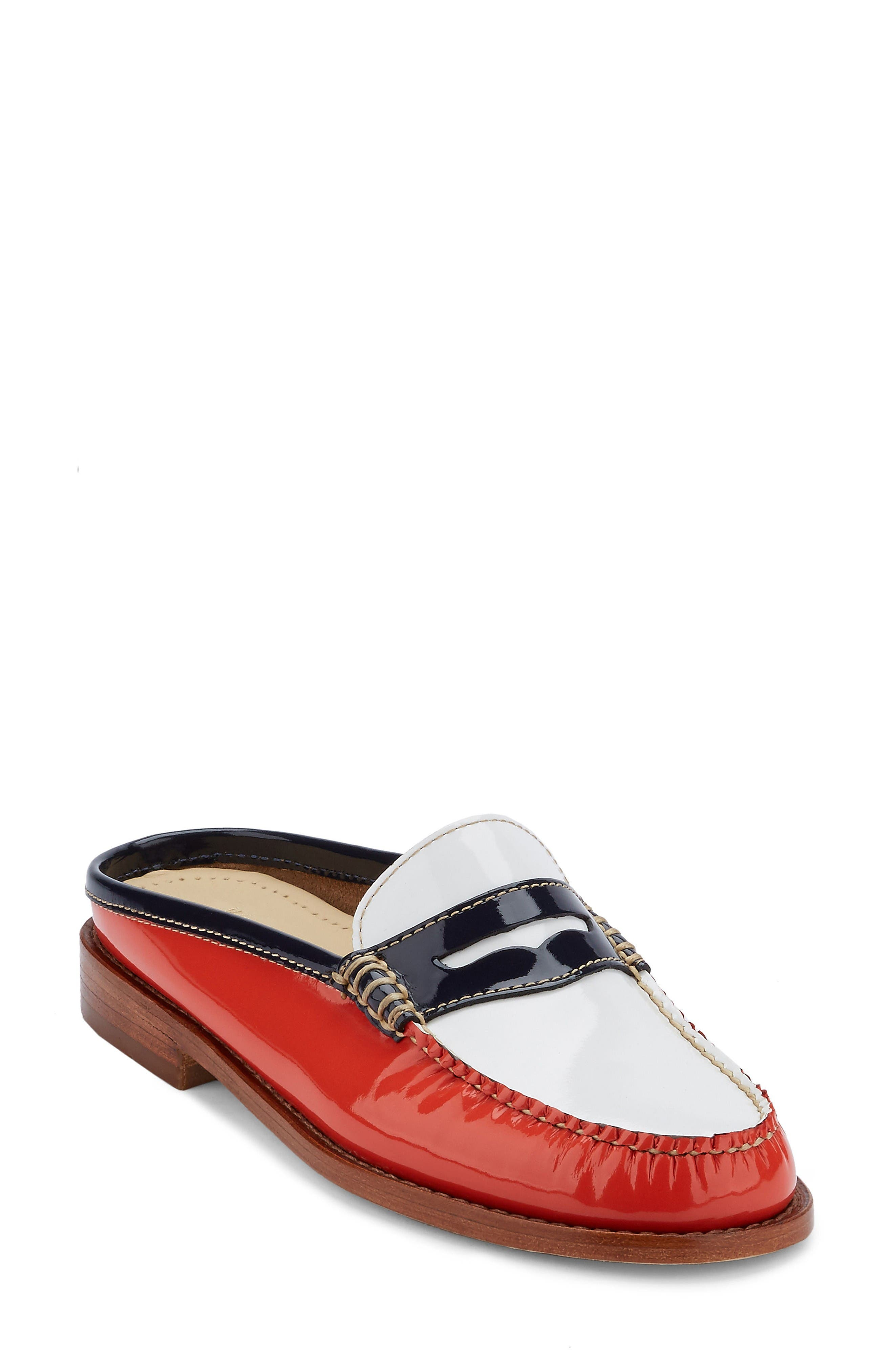 Wynn Loafer Mule,                             Main thumbnail 1, color,                             Poppy/ White Leather
