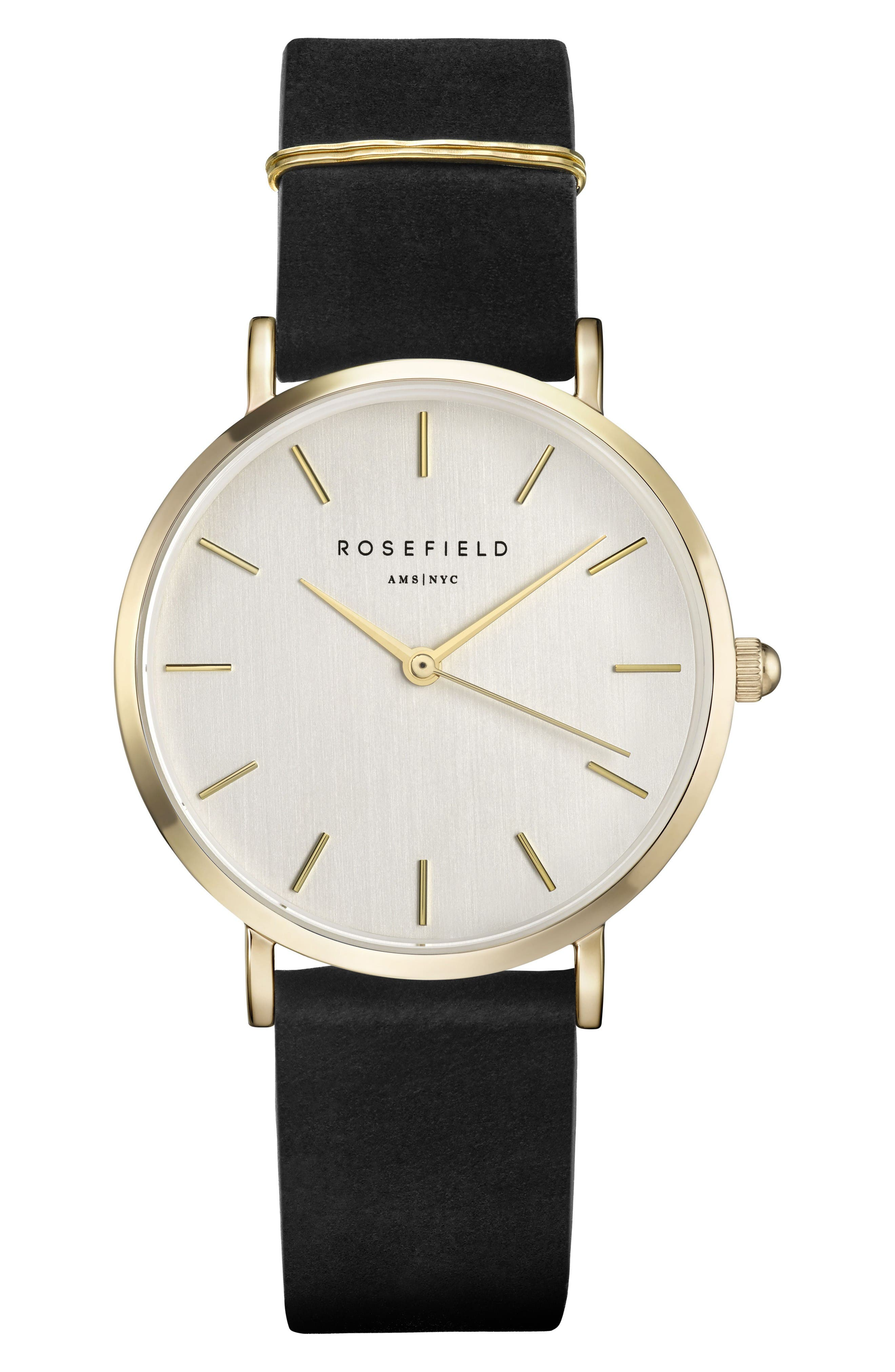 West Village Leather Strap Watch, 33mm,                         Main,                         color, Black/ White/ Gold
