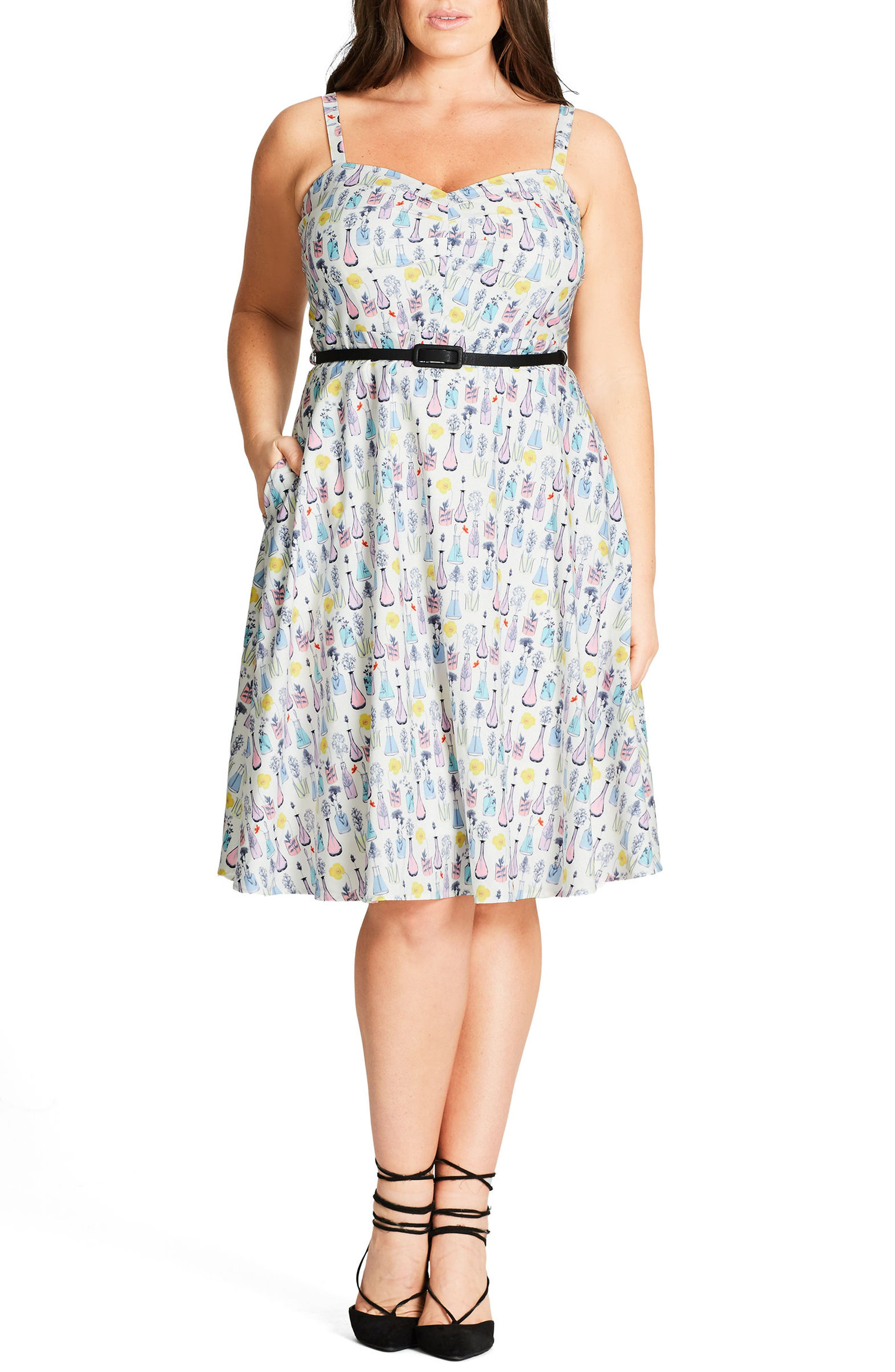 City Chic 'Open Rose' Belted Floral Fit & Flare Dress (Plus Size)