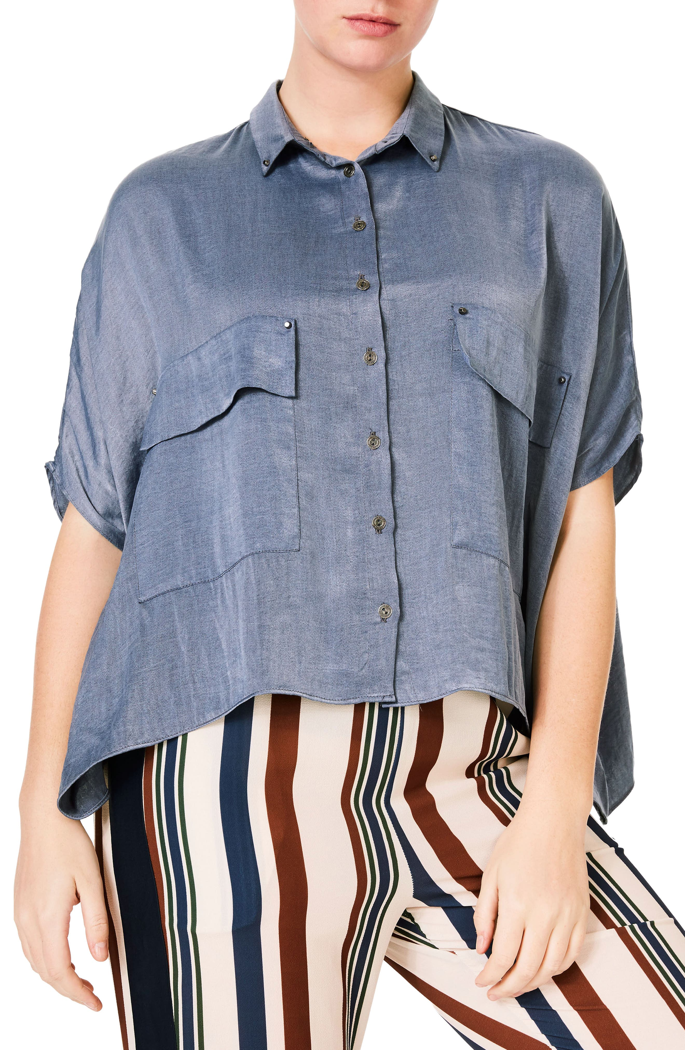 Main Image - ELVI Studded Crop Chambray Shirt (Plus Size)
