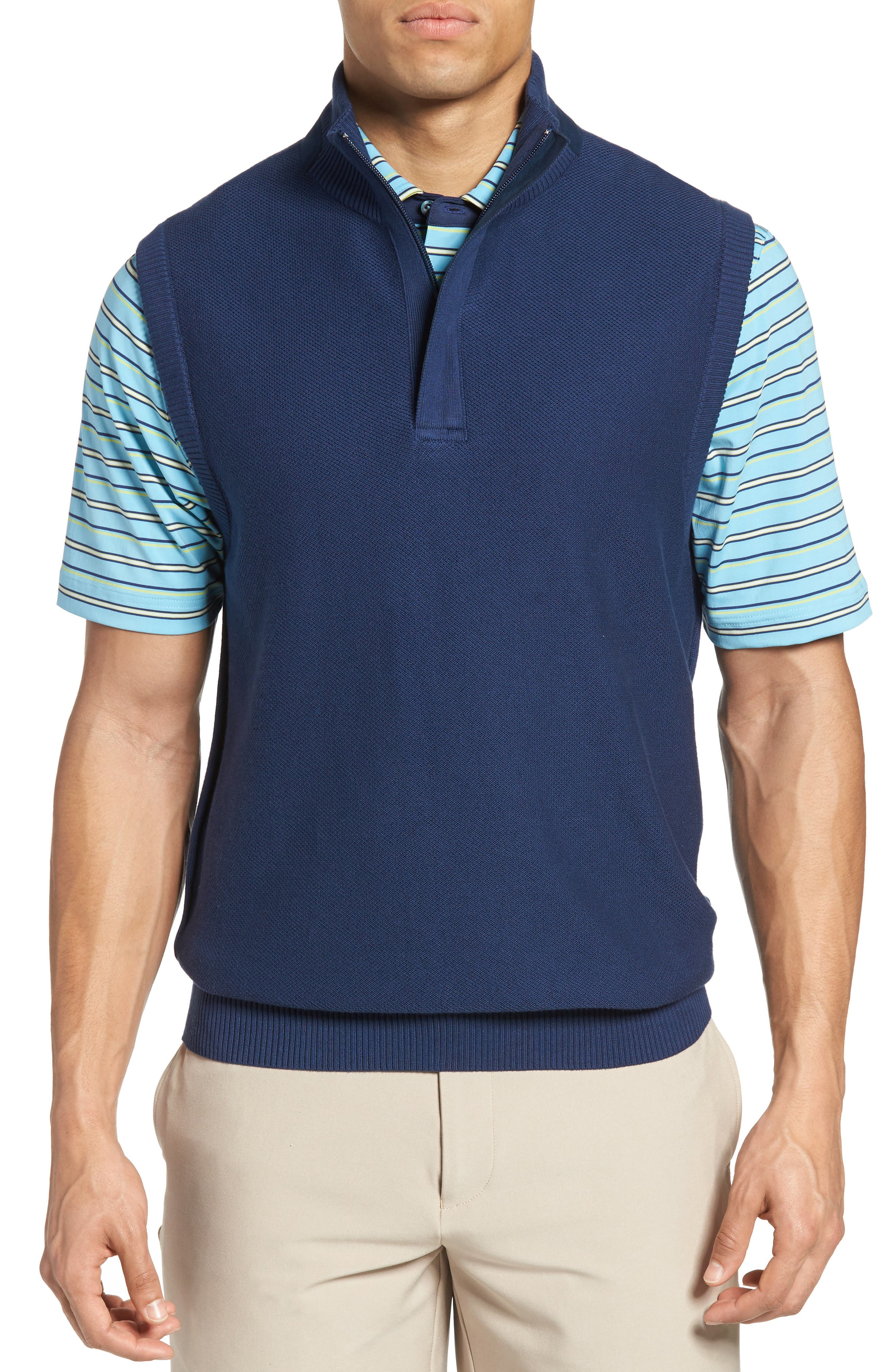 Piqué Jersey Quarter Zip Golf Vest,                         Main,                         color, Summer Navy