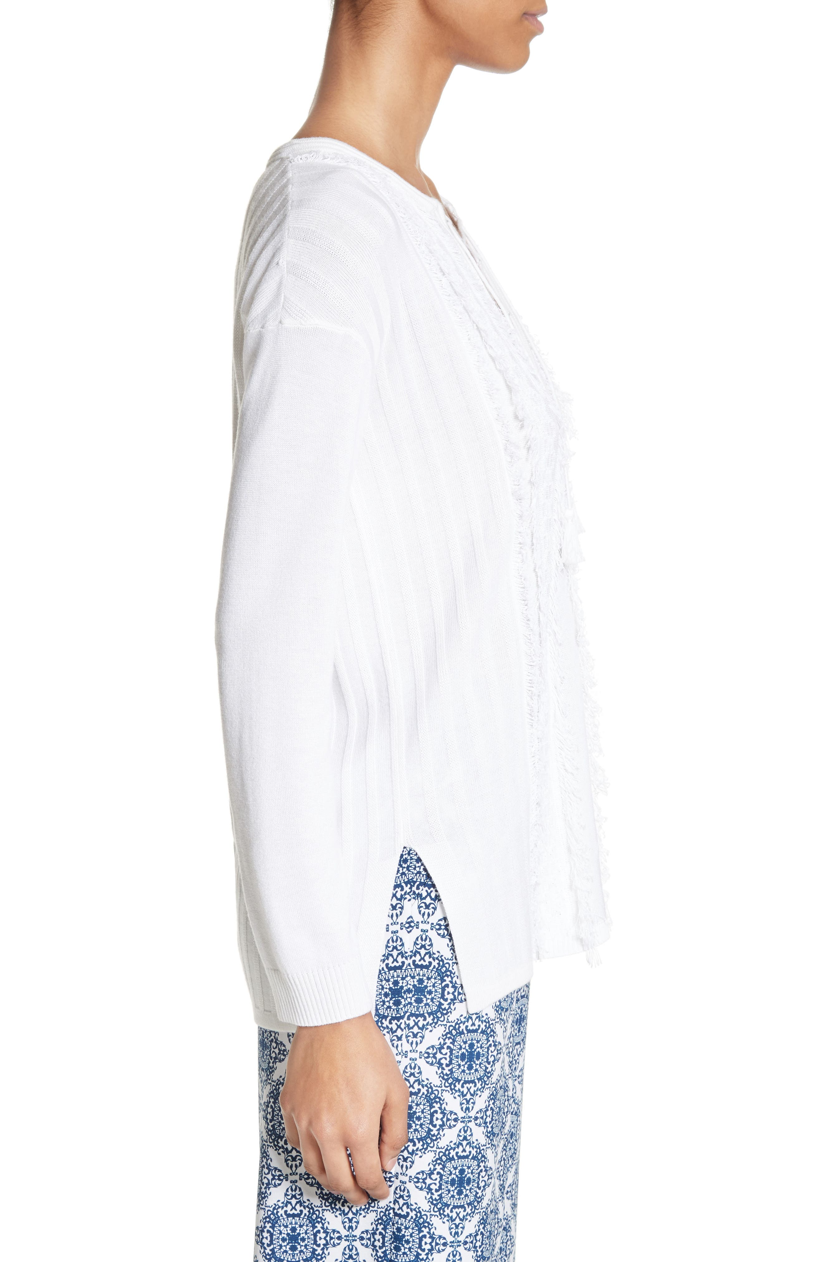 Fil Coupé Lace-Up Tunic,                             Alternate thumbnail 3, color,                             Bianco