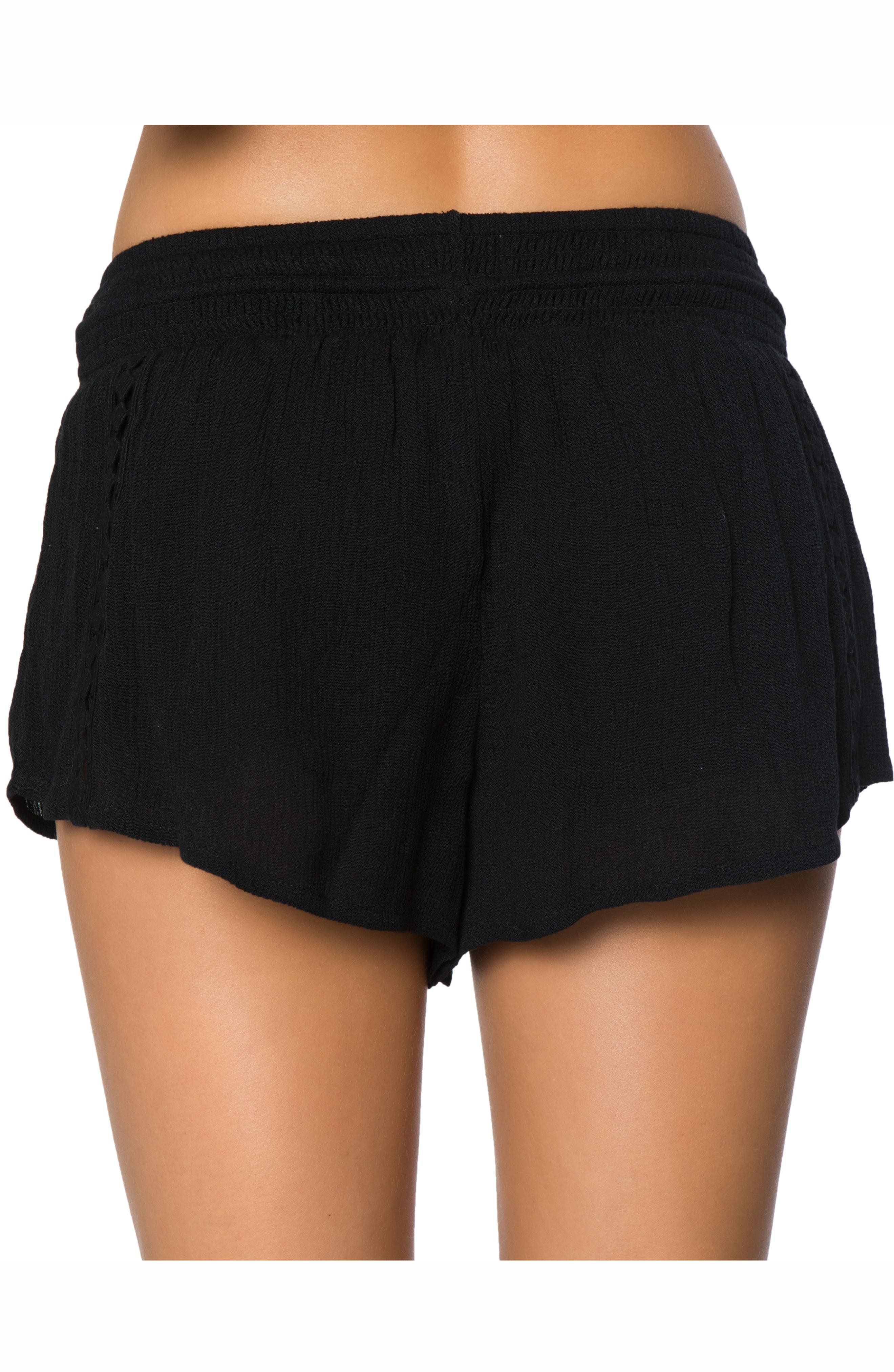 Elise Crochet Trim Shorts,                             Alternate thumbnail 2, color,                             Black