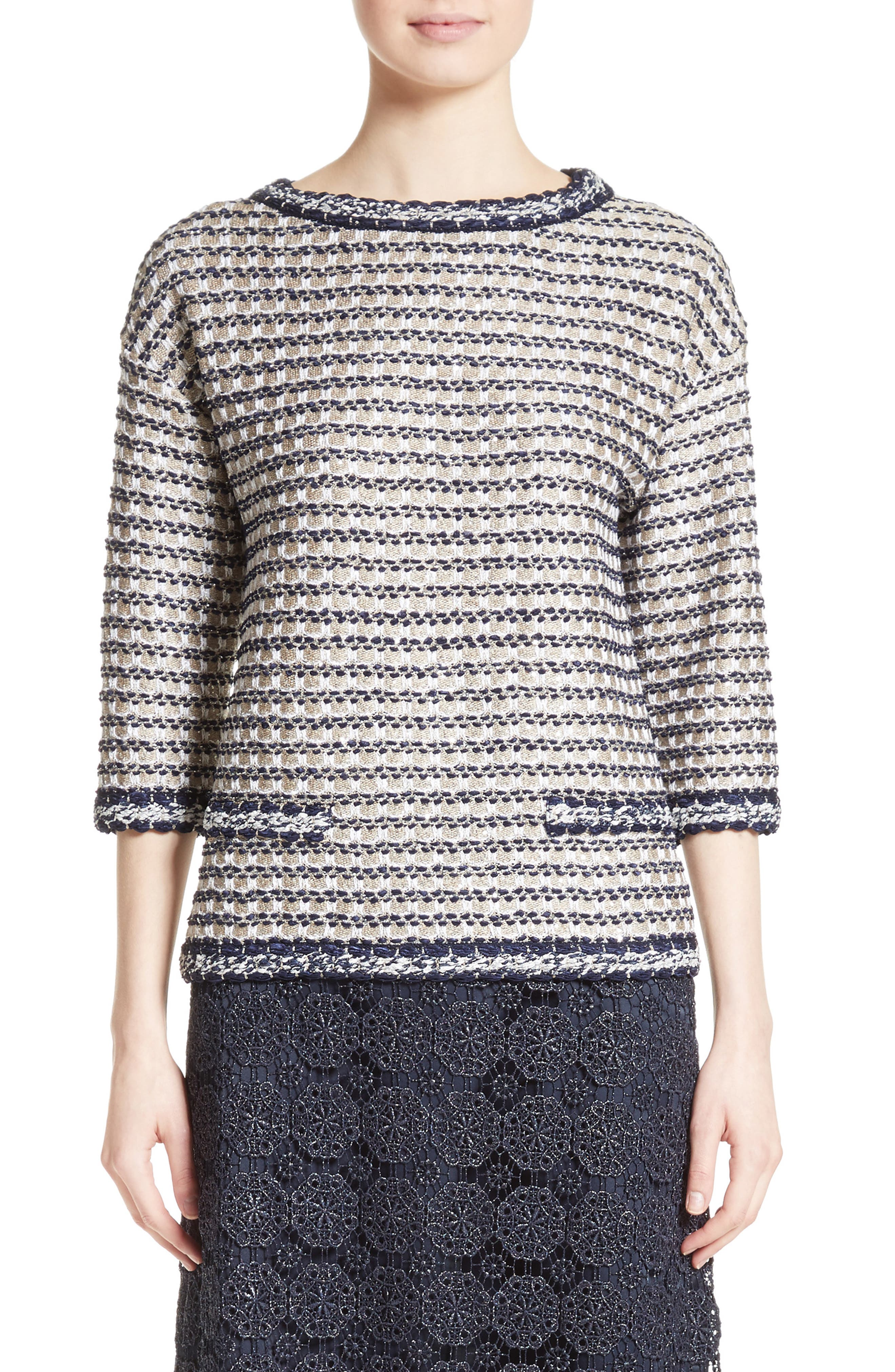 Vany Tweed Knit Top,                             Main thumbnail 1, color,                             Gold Multi