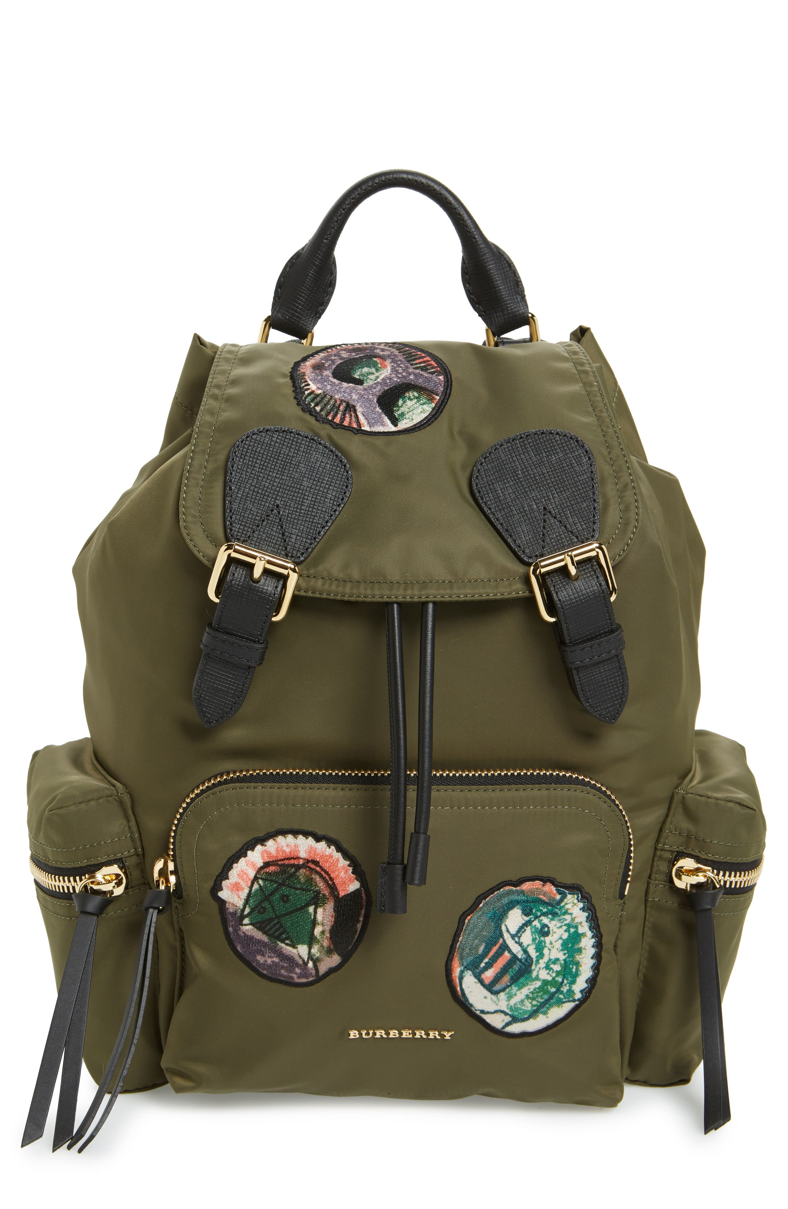 Medium Patches Rucksack Nylon Backpack,                             Main thumbnail 1, color,                             Canvas Green