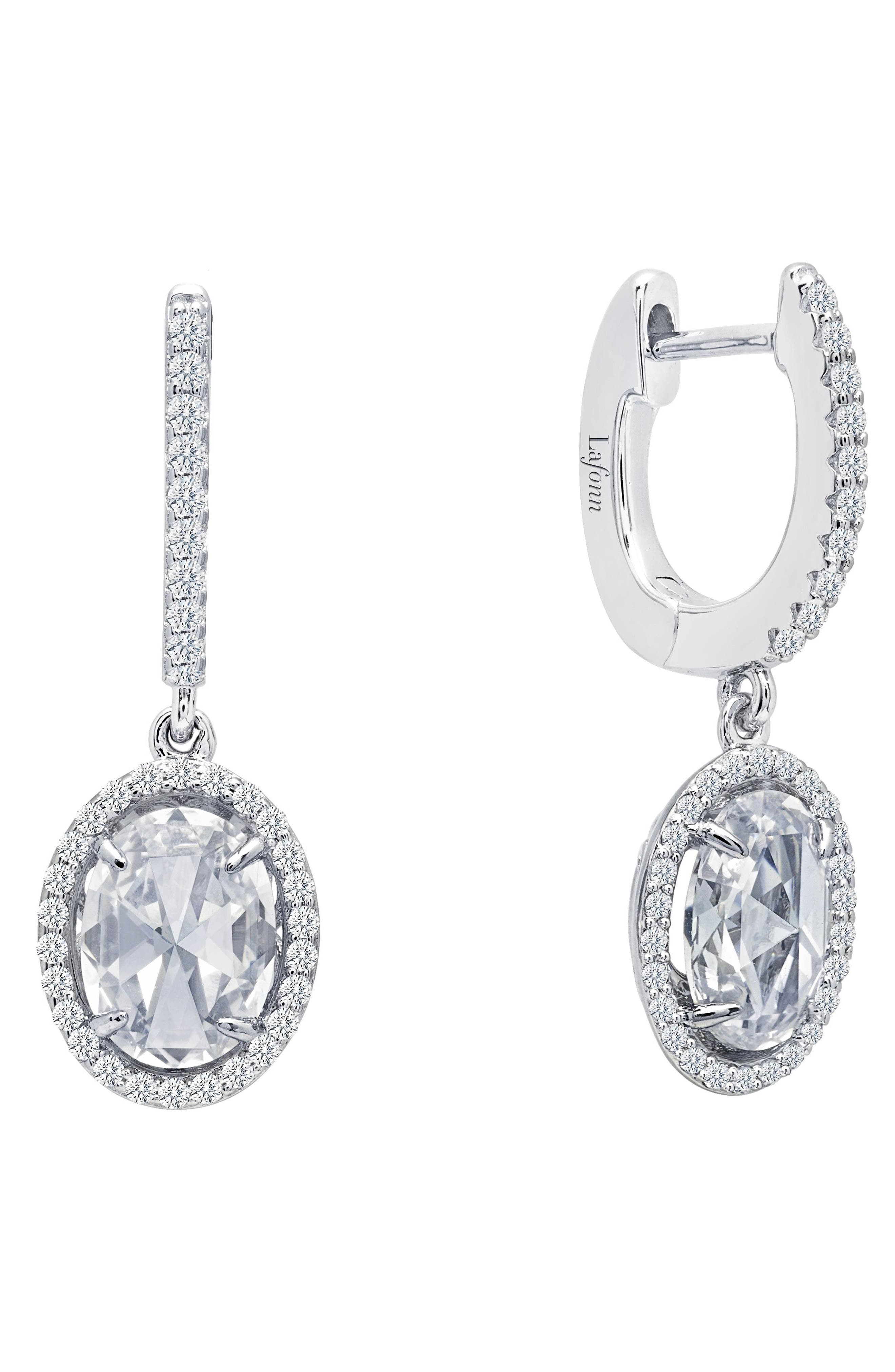 Simulated Diamond Drop Earrings,                         Main,                         color, Silver