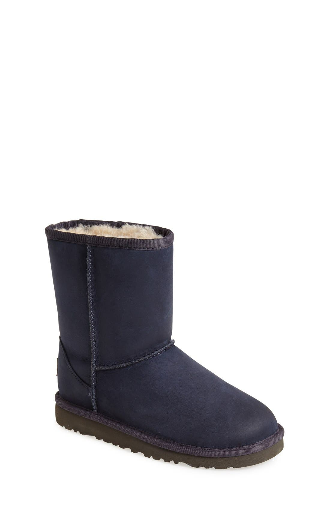 Alternate Image 1 Selected - UGG® Classic Short Water Resistant Leather Boot (Little Kid & Big Kid)