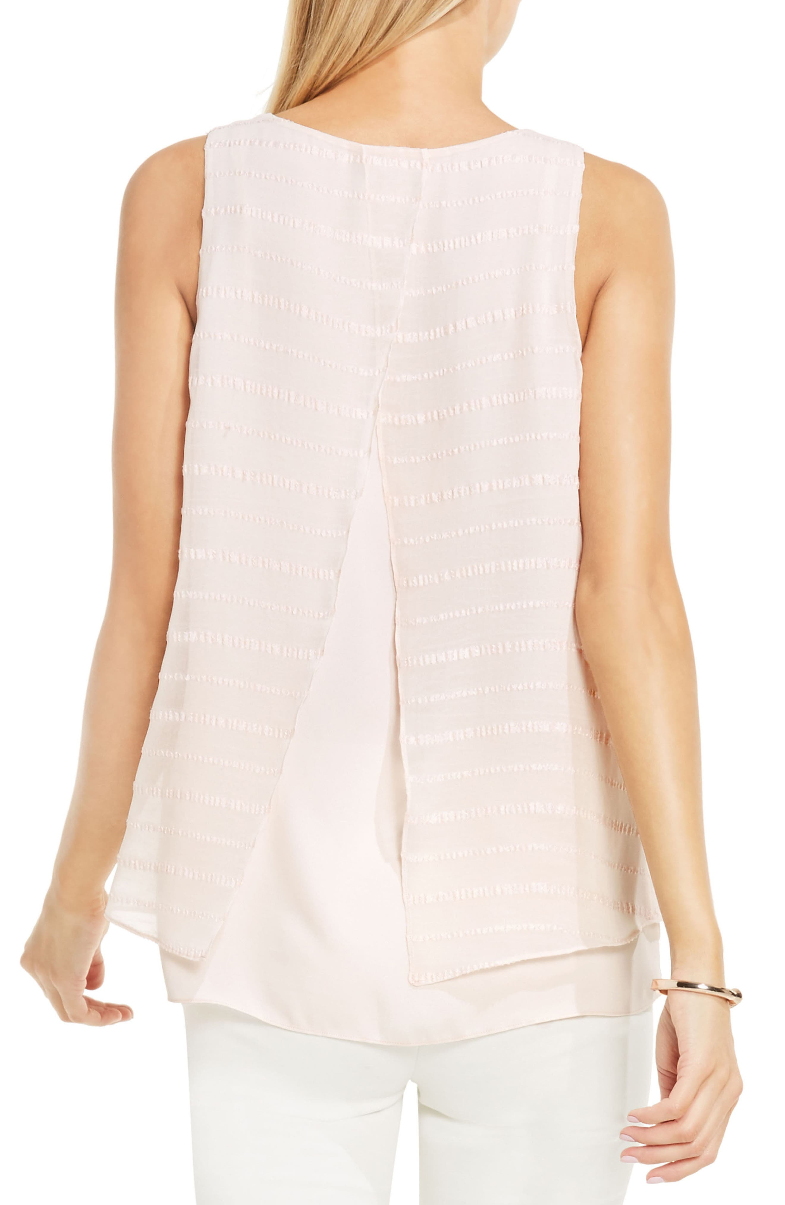 Alternate Image 3  - Vince Camuto Embroidered Stripe Double Layer Blouse (Regular & Petite)