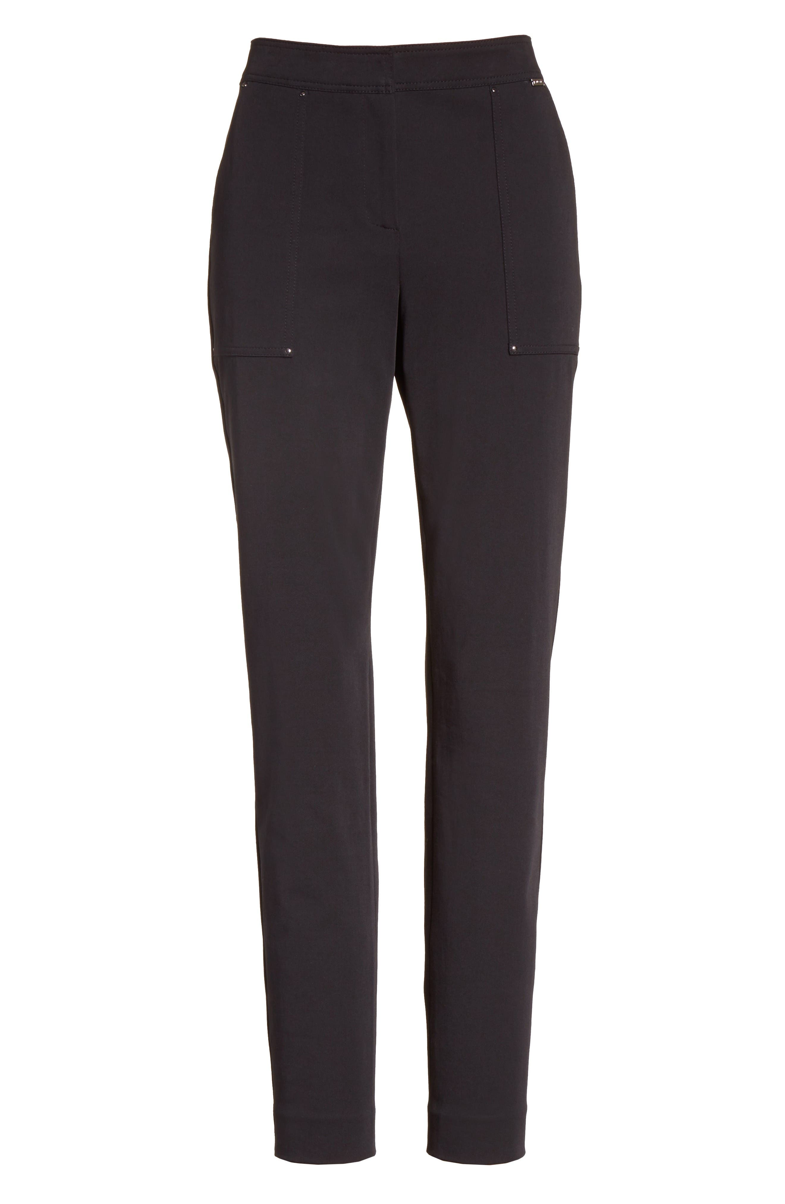 Fine Stretch Twill Skinny Pants,                             Alternate thumbnail 8, color,                             Caviar
