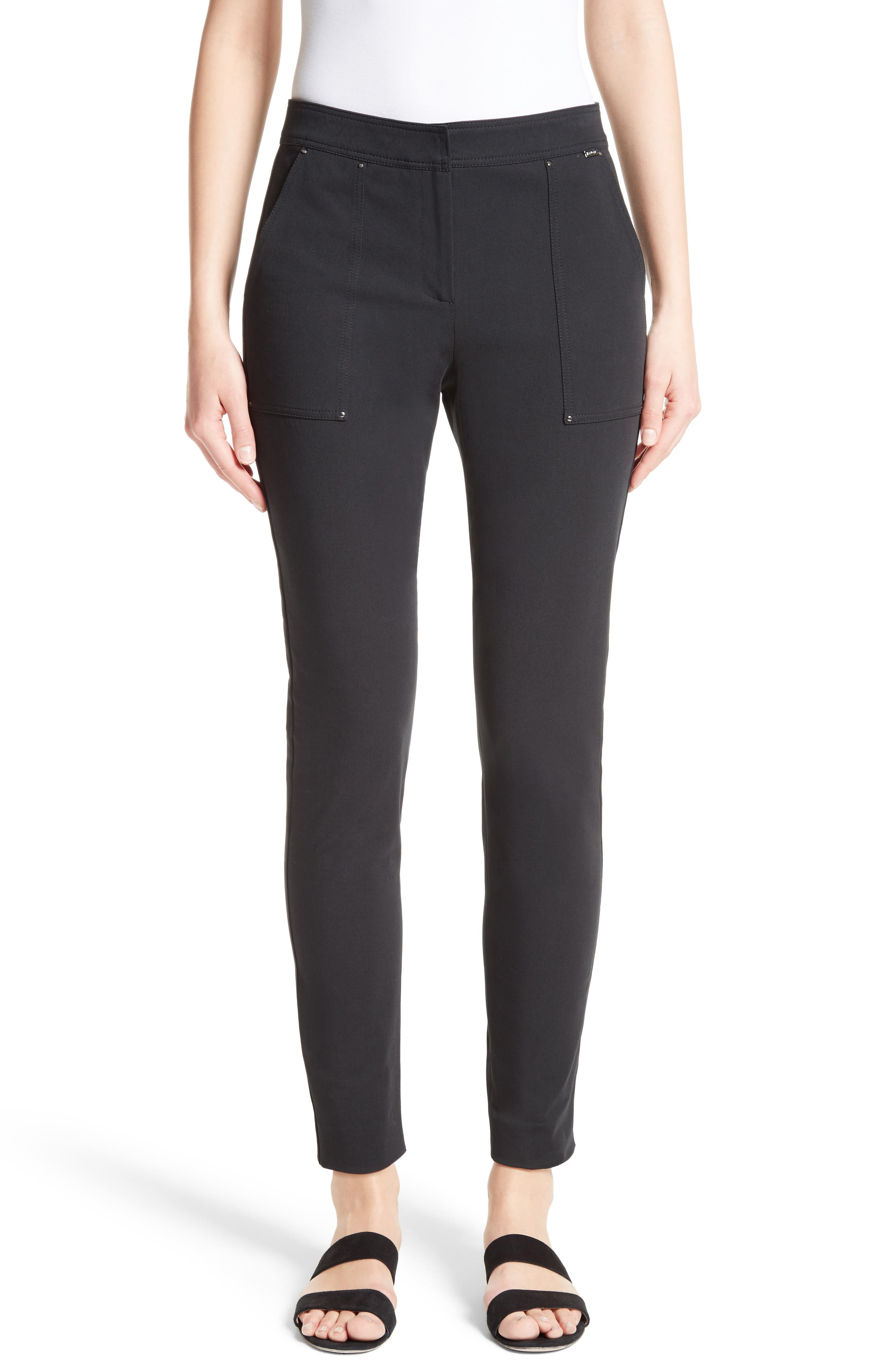 Fine Stretch Twill Skinny Pants,                         Main,                         color, Caviar