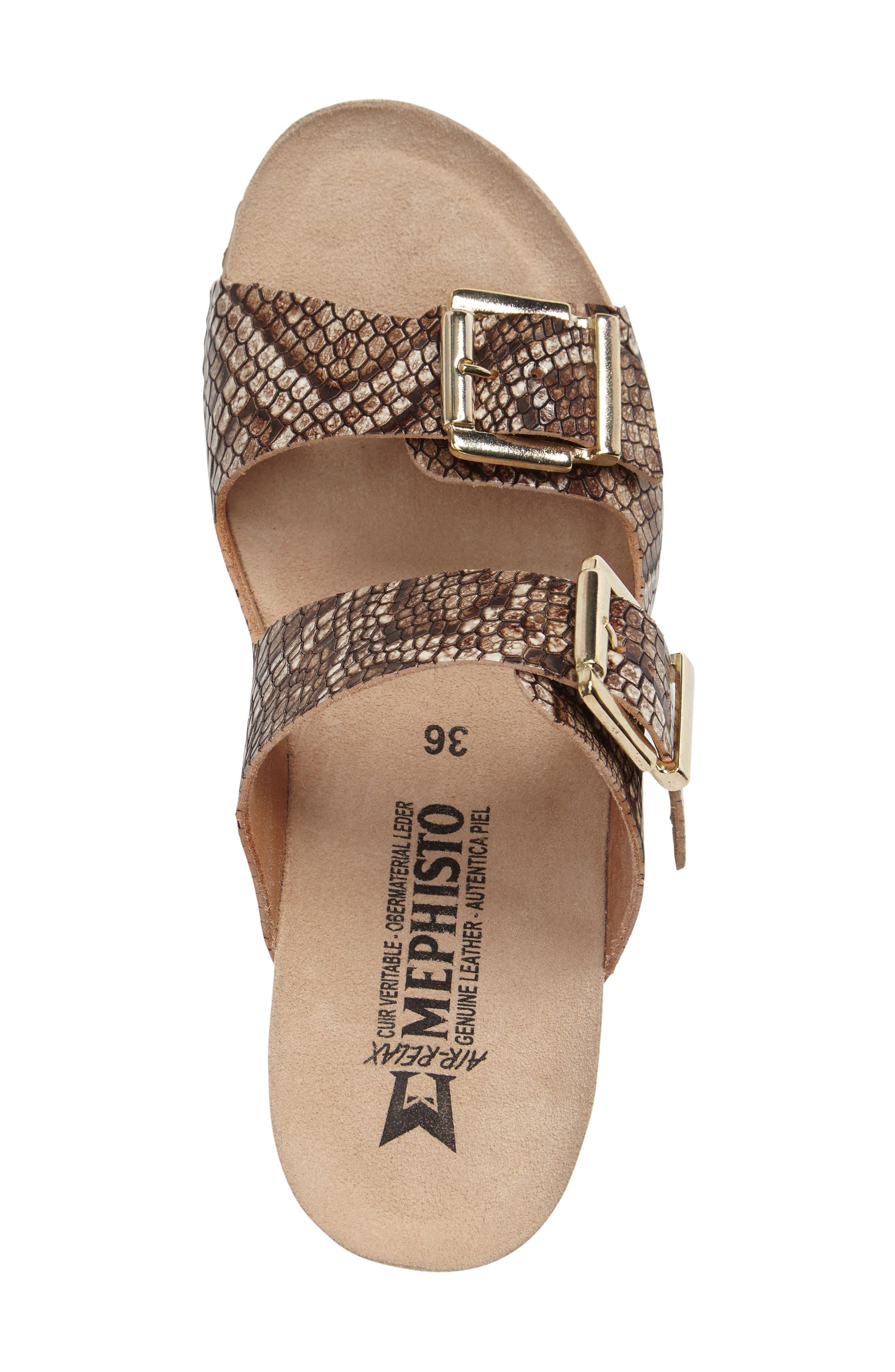 Lenia Wedge Sandal,                             Alternate thumbnail 3, color,                             Brown Leather