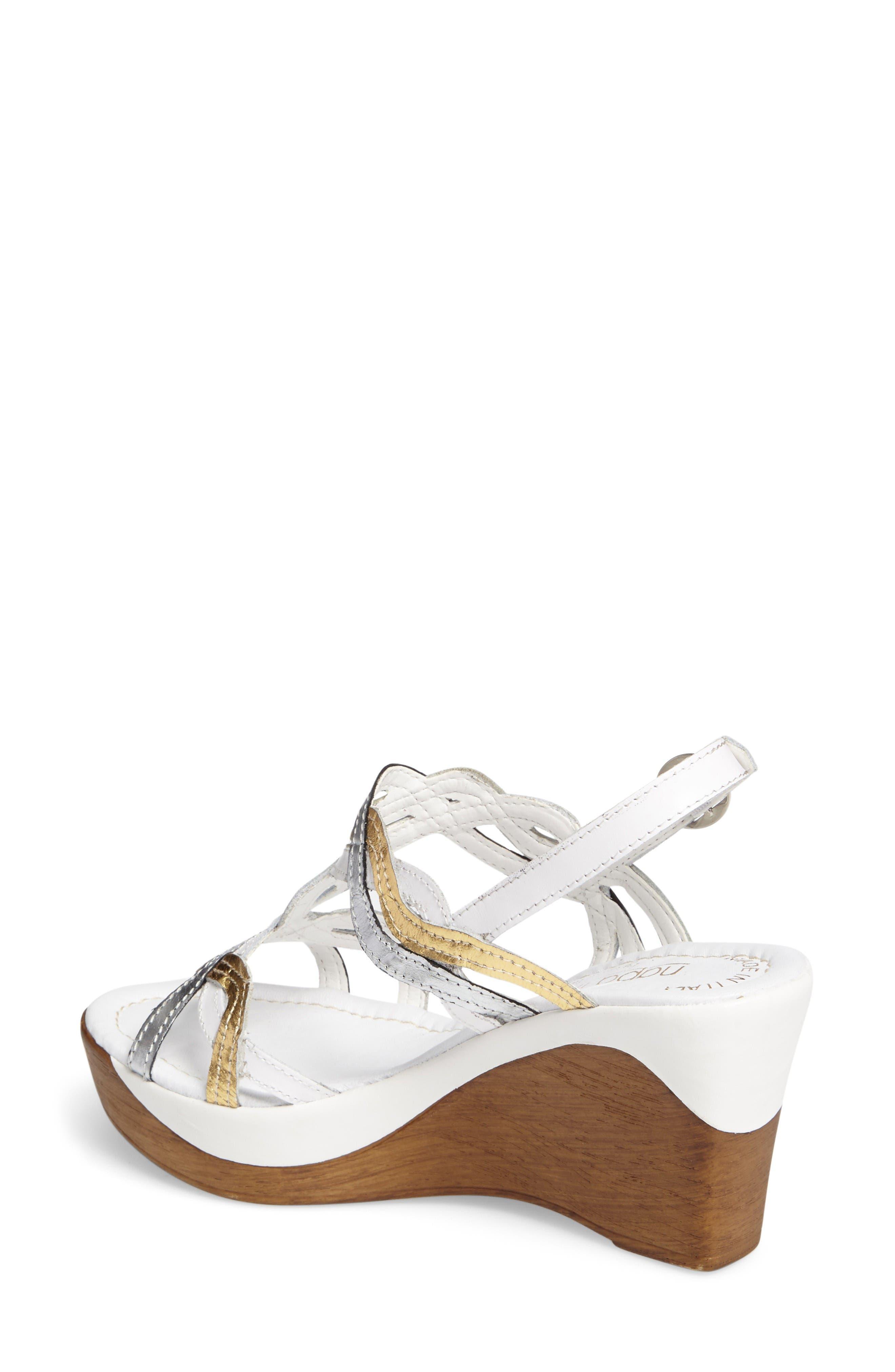 Alto Wedge Sandal,                             Alternate thumbnail 2, color,                             White Leather