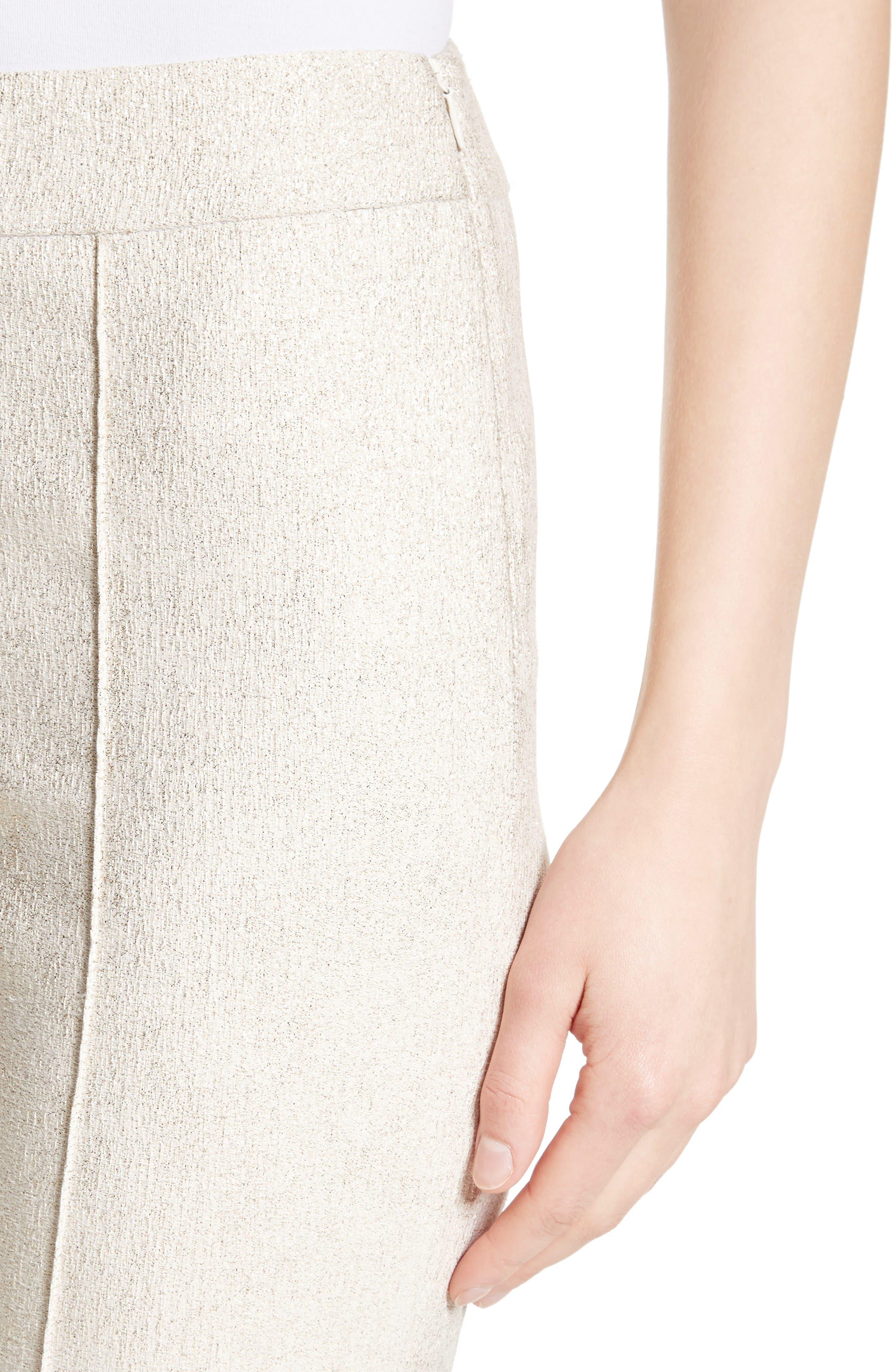 Metallic Jacquard Crop Pants,                             Alternate thumbnail 4, color,                             Bianco/ Gold