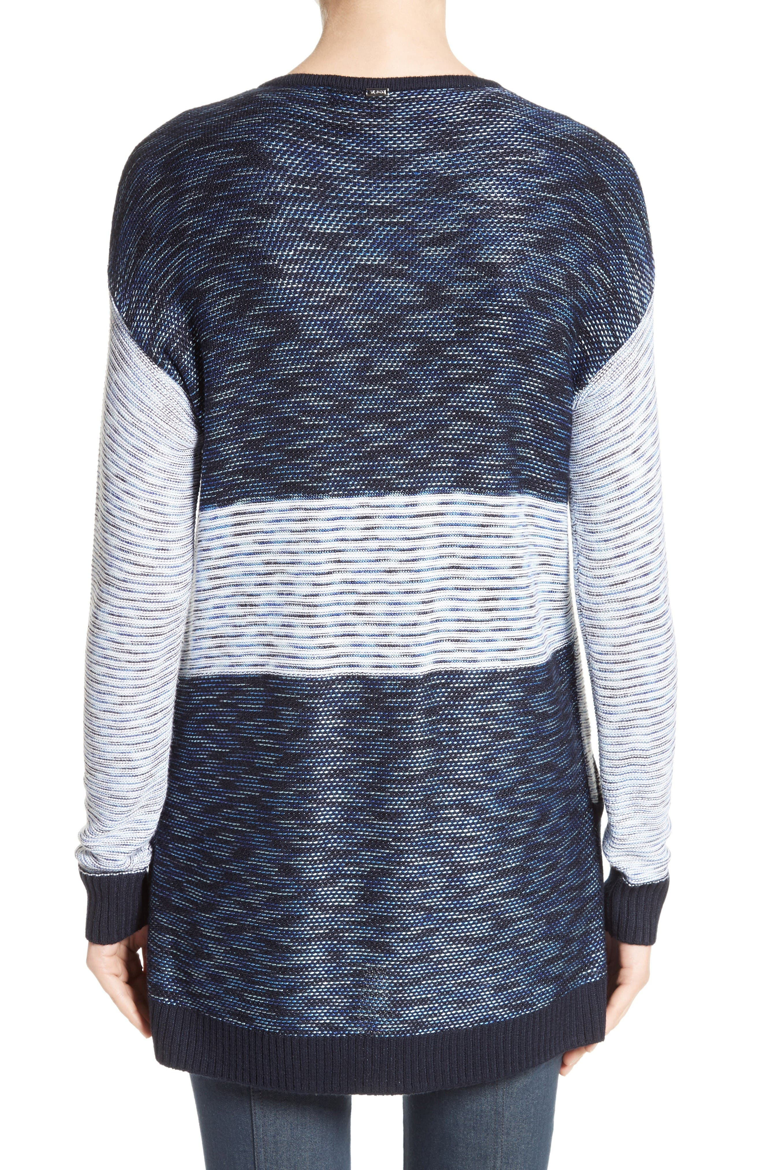 Chambray Effect Links Knit Cardigan,                             Alternate thumbnail 2, color,                             Bianco/ Navy Multi