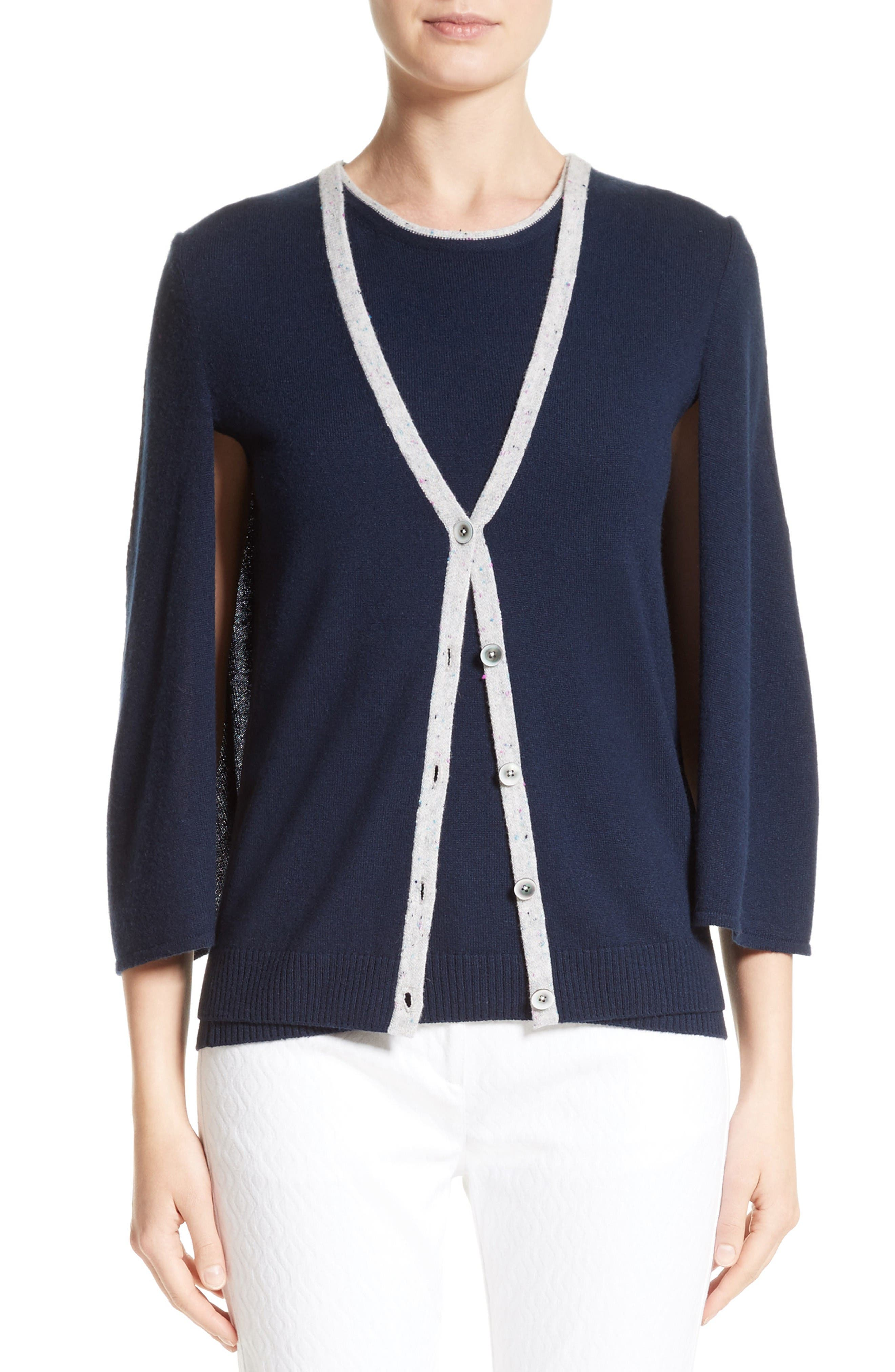 St. John Collection Cashmere Capelette Cardigan