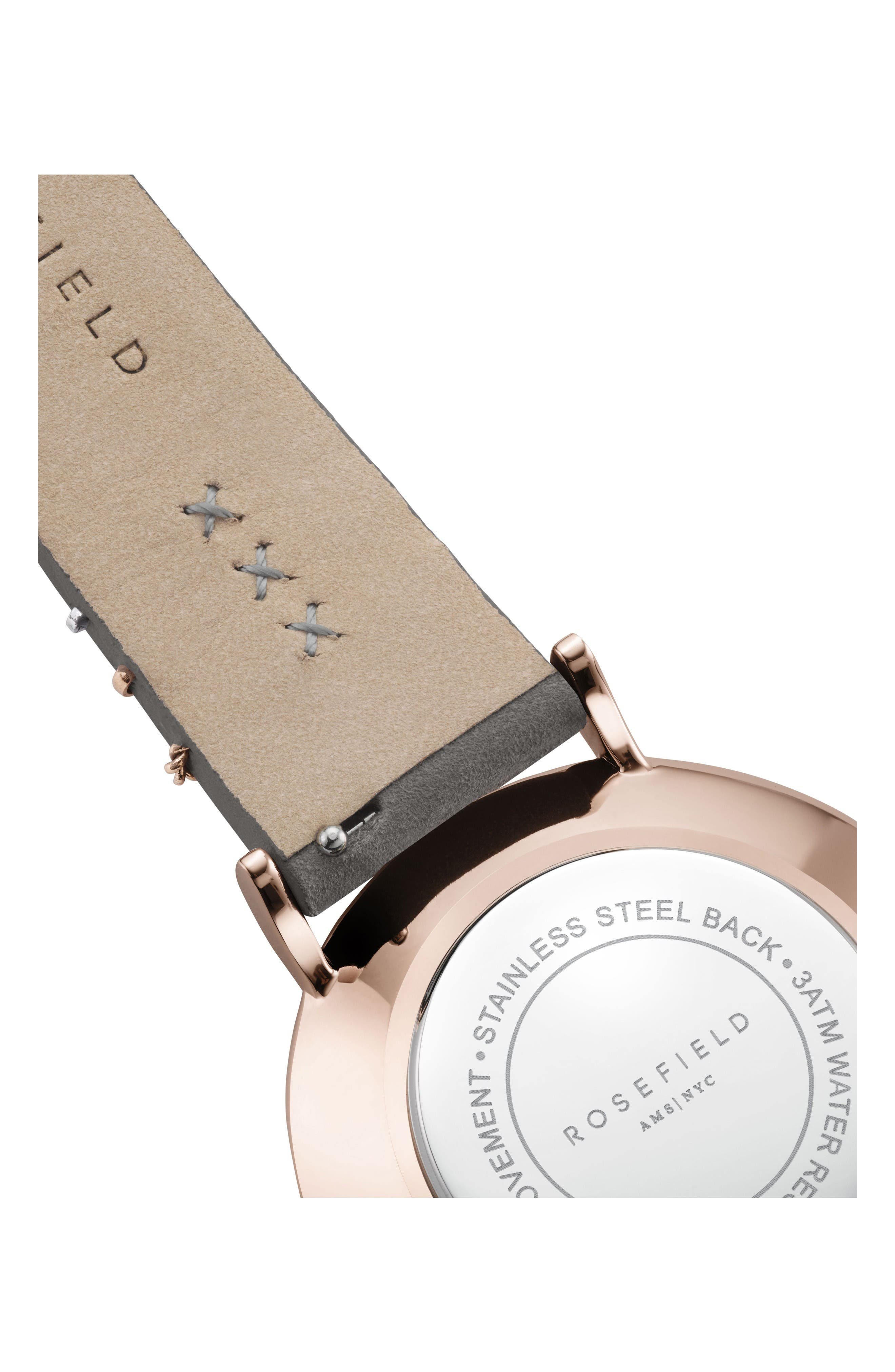 West Village Leather Strap Watch, 33mm,                             Alternate thumbnail 4, color,                             Grey/ White Pearl/ Rose Gold